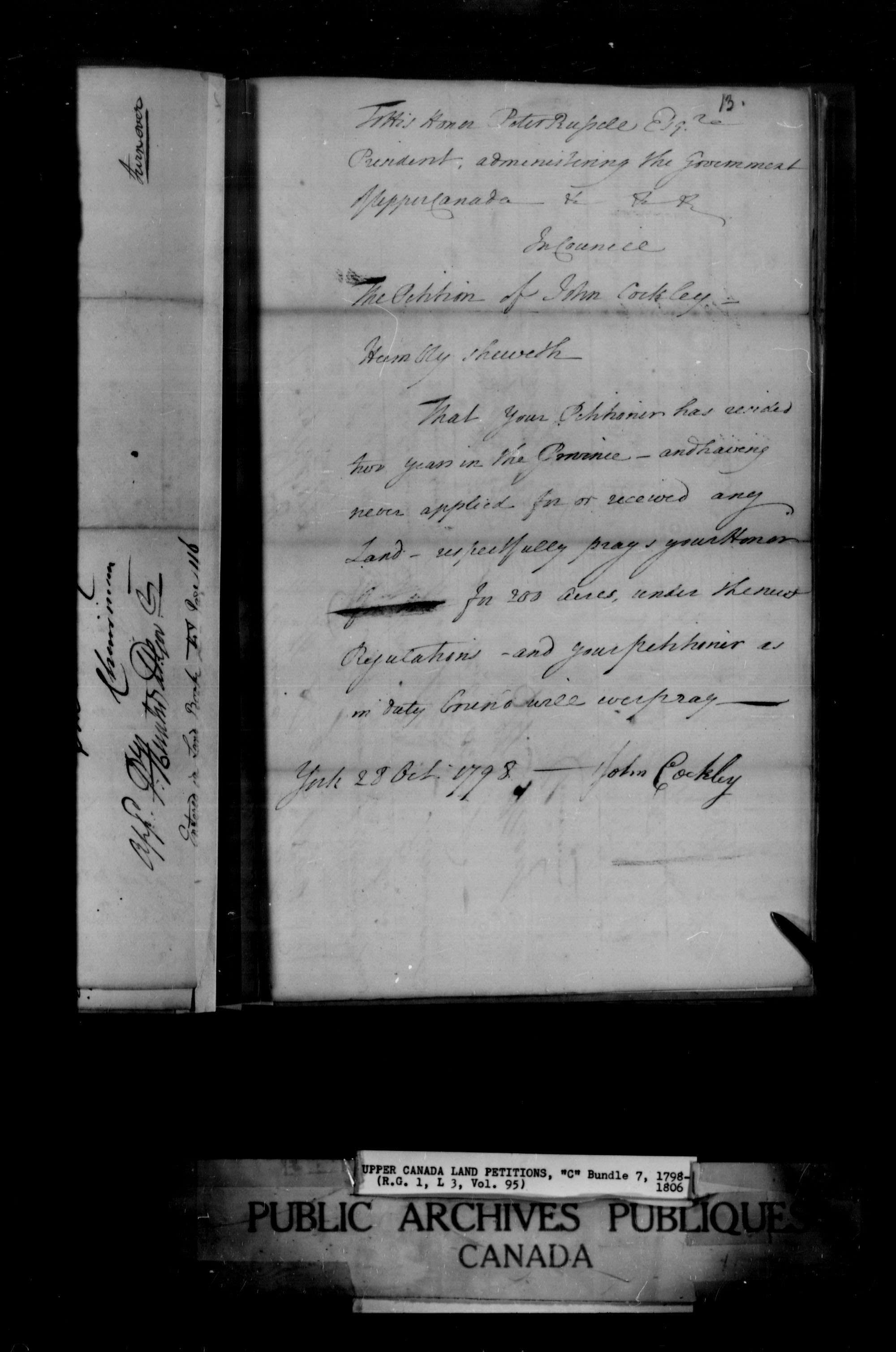 Title: Upper Canada Land Petitions (1763-1865) - Mikan Number: 205131 - Microform: c-1650