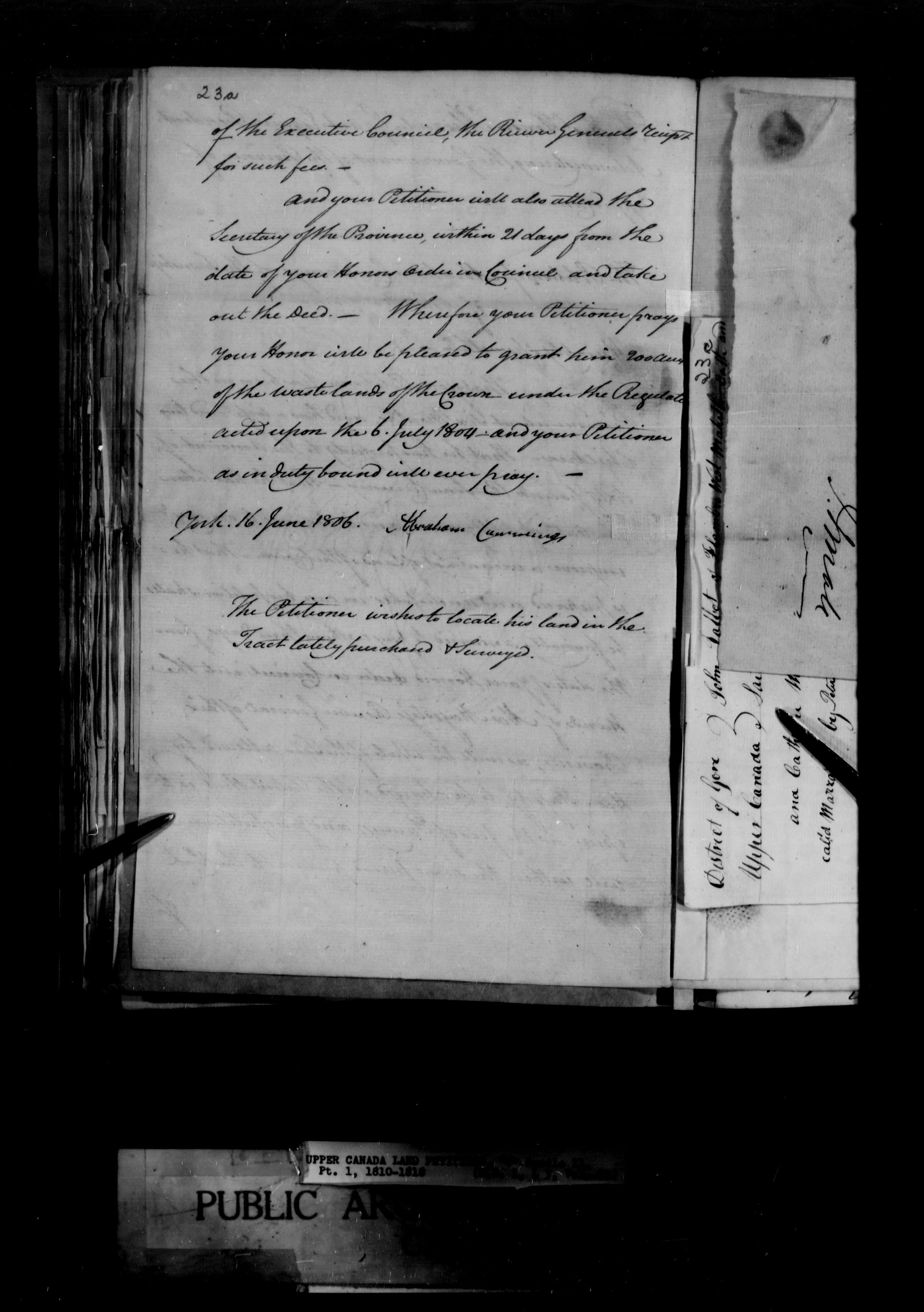 Title: Upper Canada Land Petitions (1763-1865) - Mikan Number: 205131 - Microform: c-1652