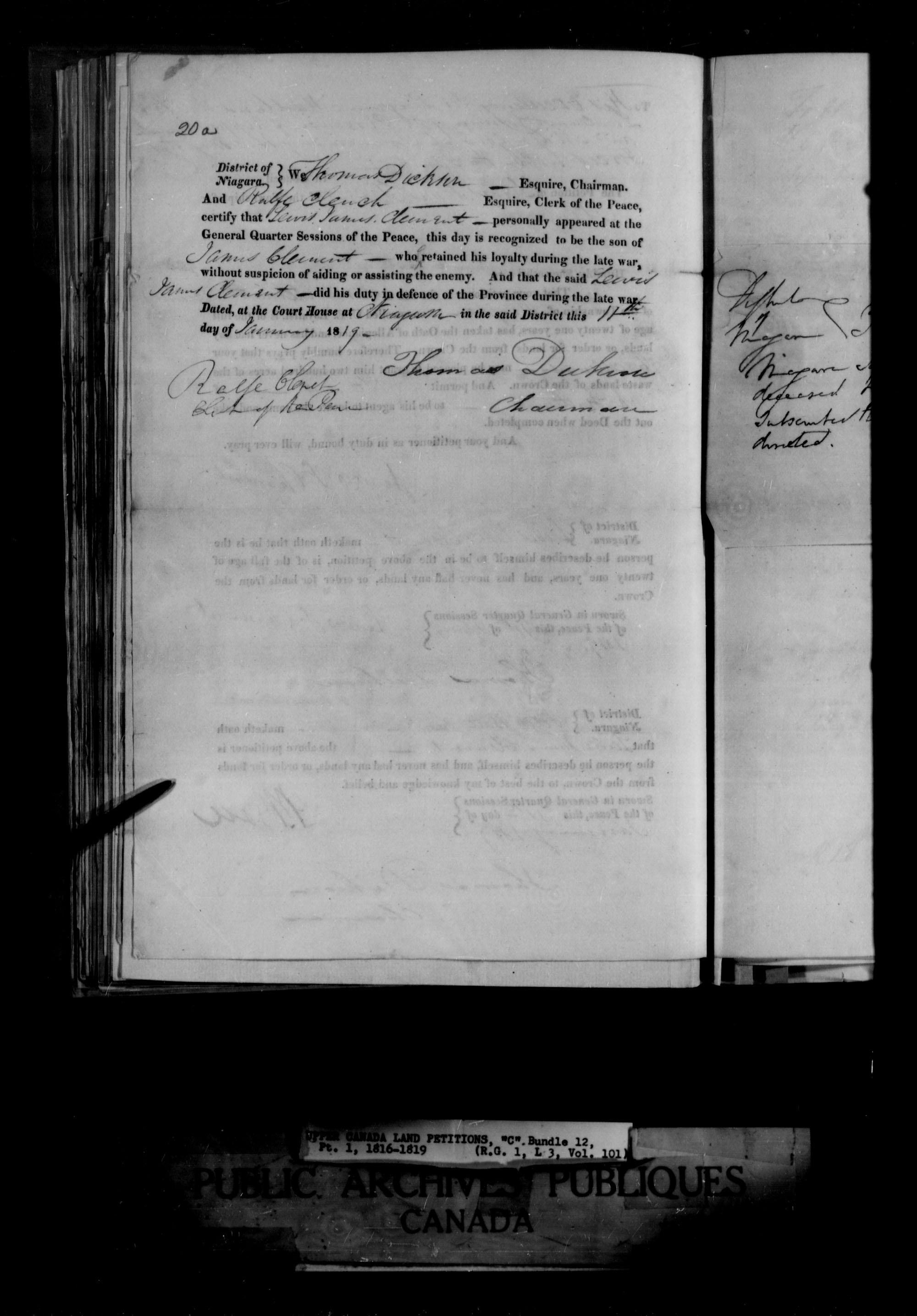 Title: Upper Canada Land Petitions (1763-1865) - Mikan Number: 205131 - Microform: c-1653