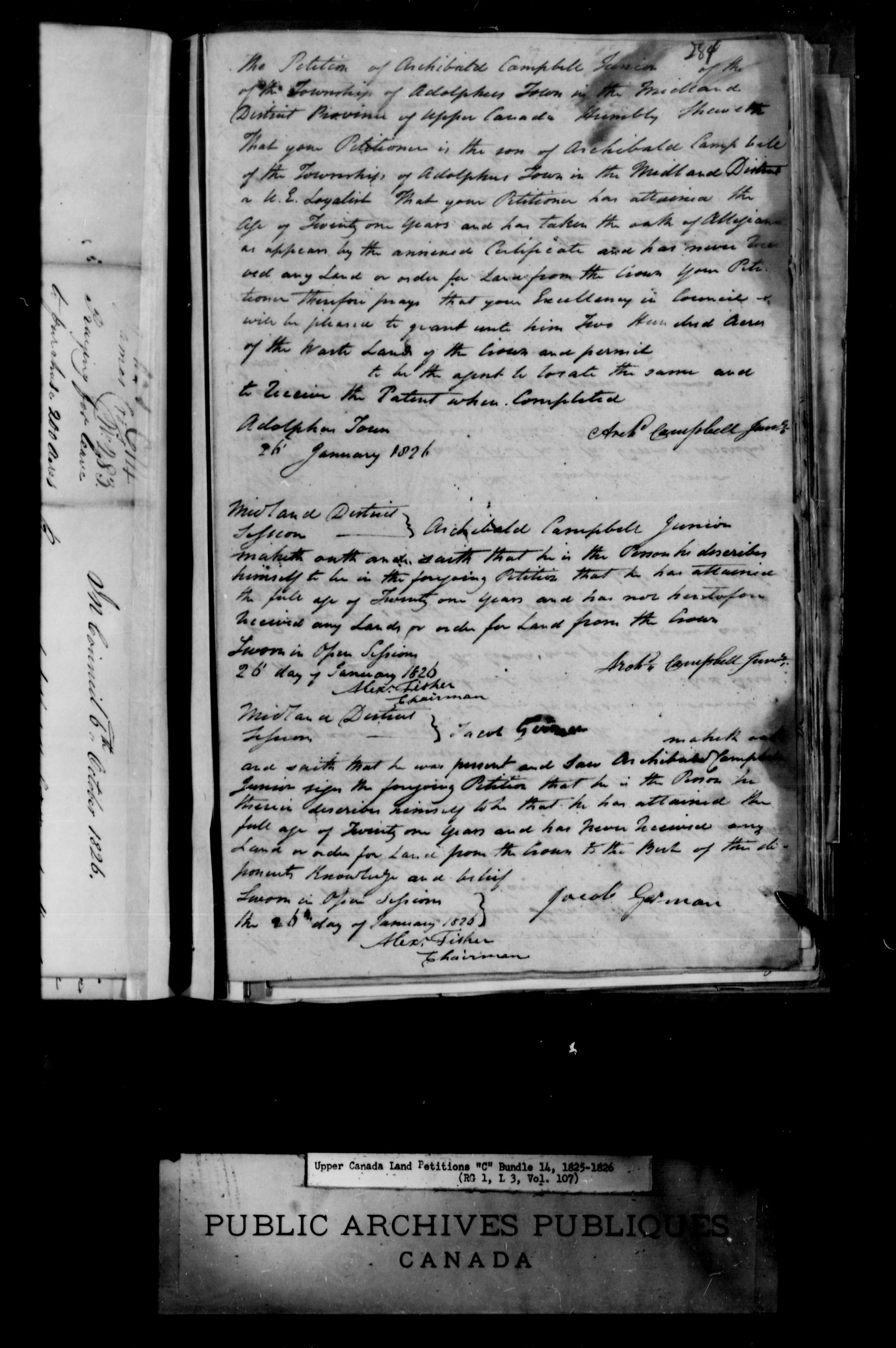 Title: Upper Canada Land Petitions (1763-1865) - Mikan Number: 205131 - Microform: c-1725