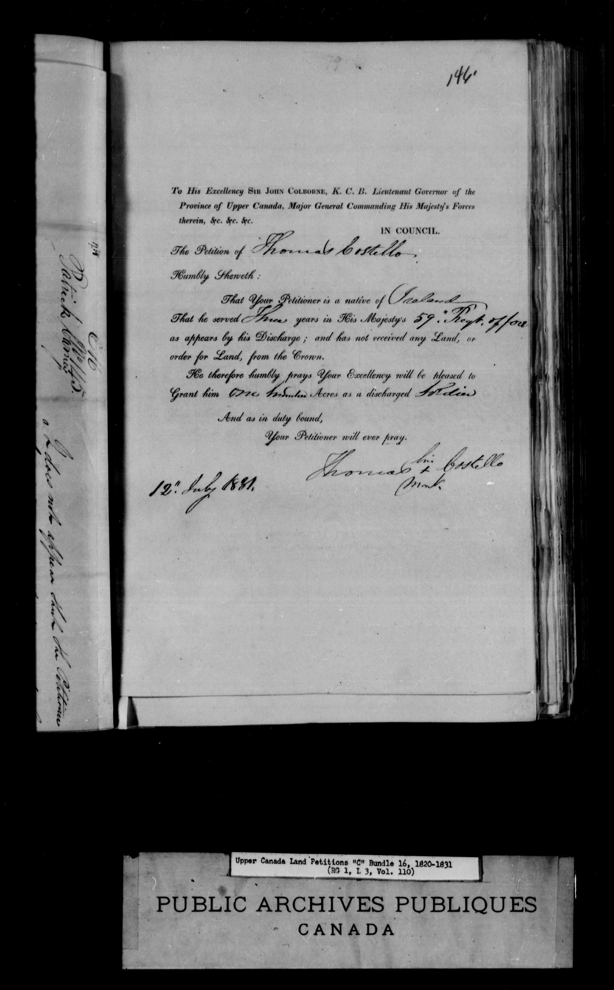Title: Upper Canada Land Petitions (1763-1865) - Mikan Number: 205131 - Microform: c-1726