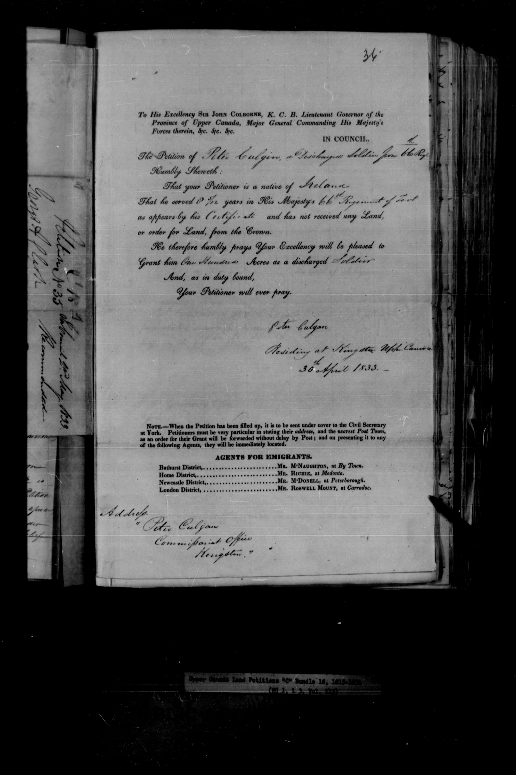 Title: Upper Canada Land Petitions (1763-1865) - Mikan Number: 205131 - Microform: c-1727