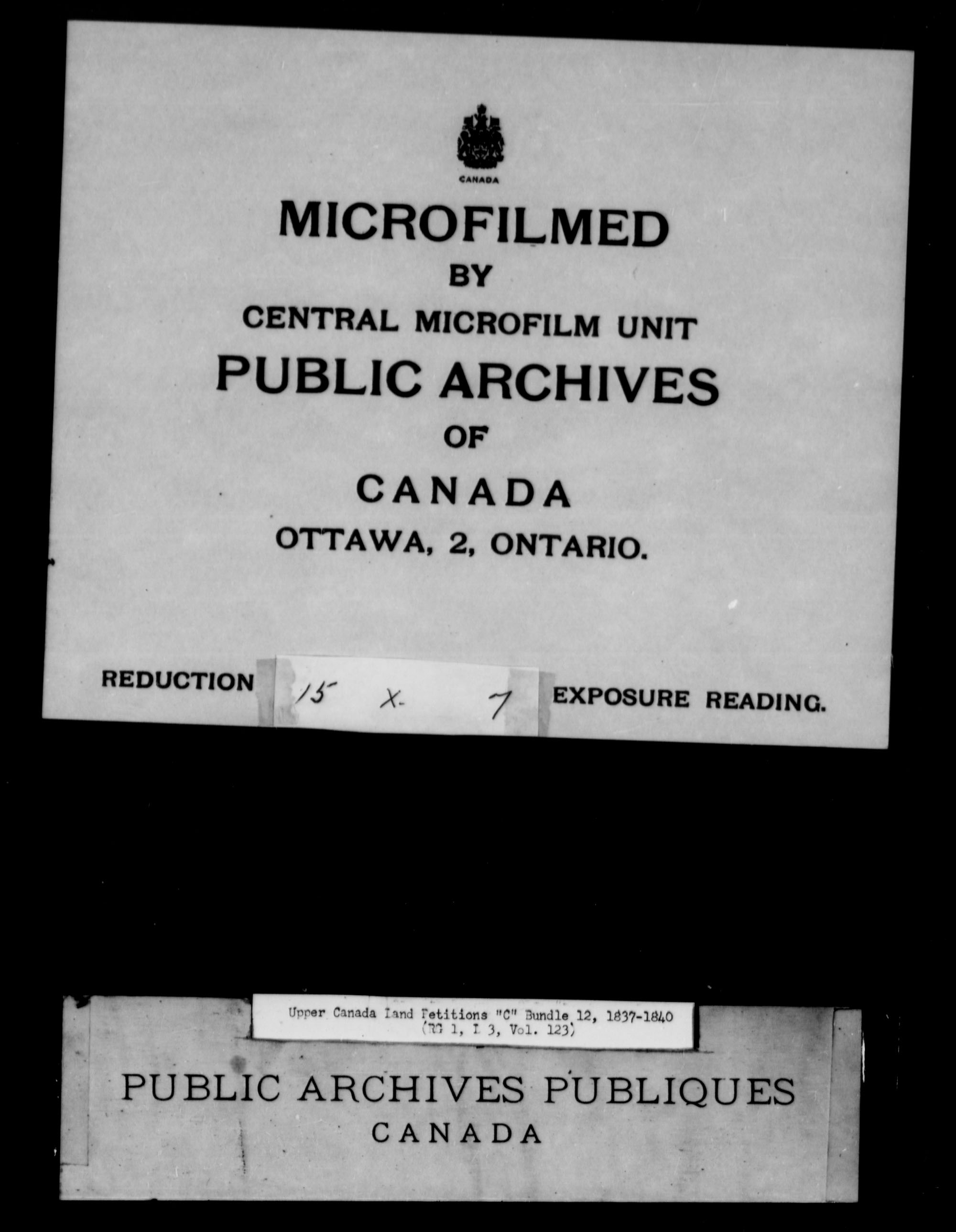 Title: Upper Canada Land Petitions (1763-1865) - Mikan Number: 205131 - Microform: c-1731
