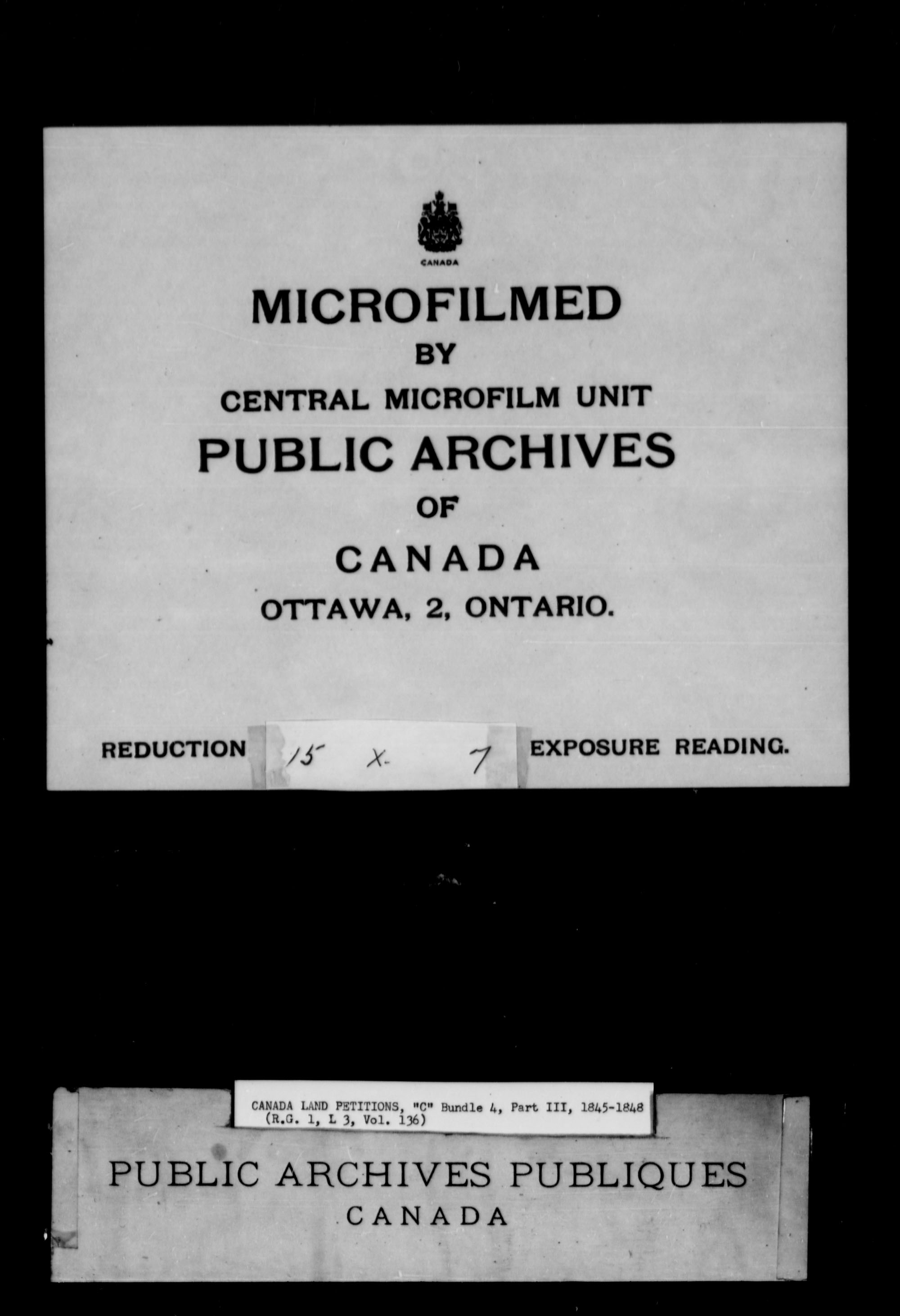 Title: Upper Canada Land Petitions (1763-1865) - Mikan Number: 205131 - Microform: c-1736