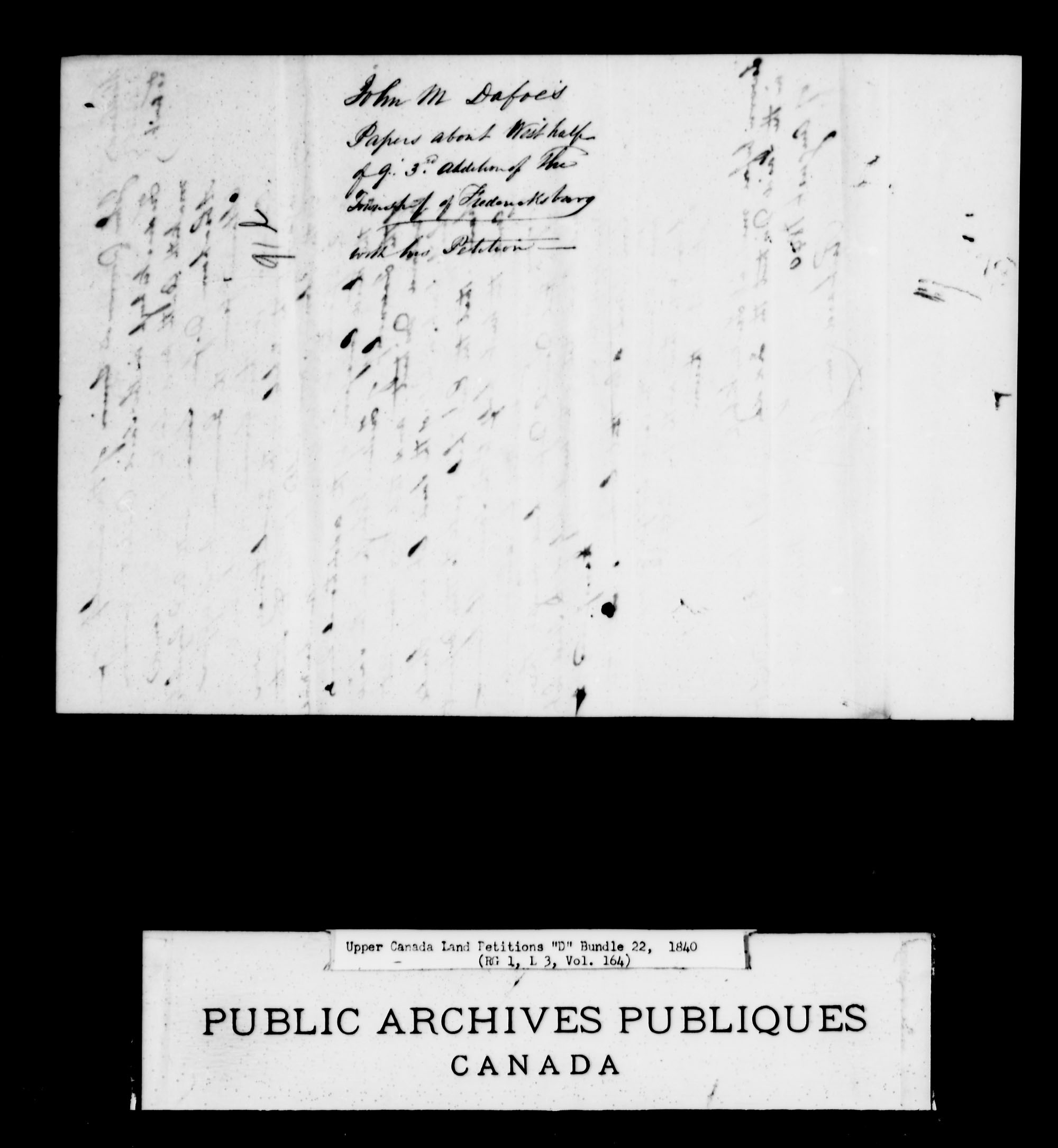 Title: Upper Canada Land Petitions (1763-1865) - Mikan Number: 205131 - Microform: c-1879