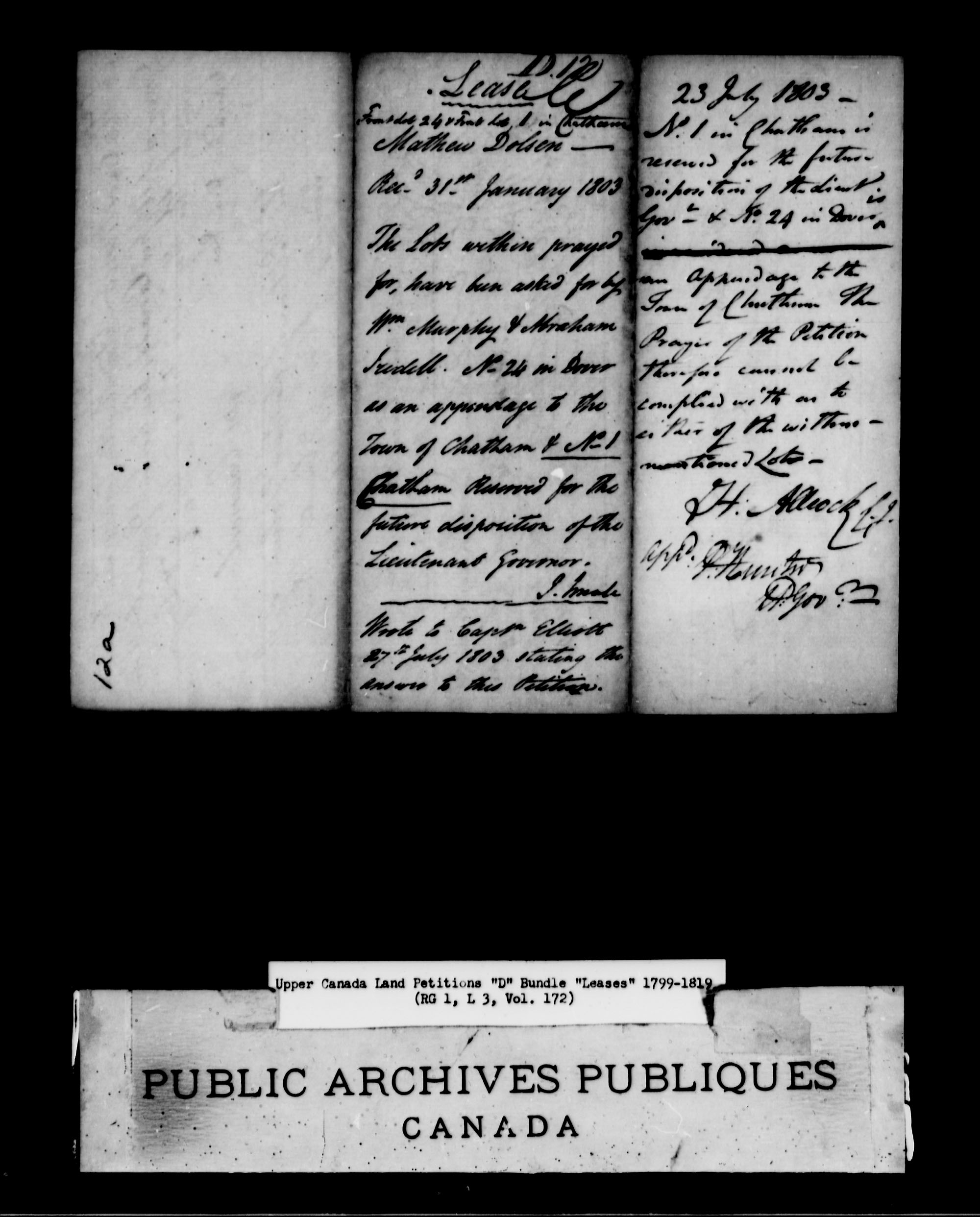 Title: Upper Canada Land Petitions (1763-1865) - Mikan Number: 205131 - Microform: c-1885
