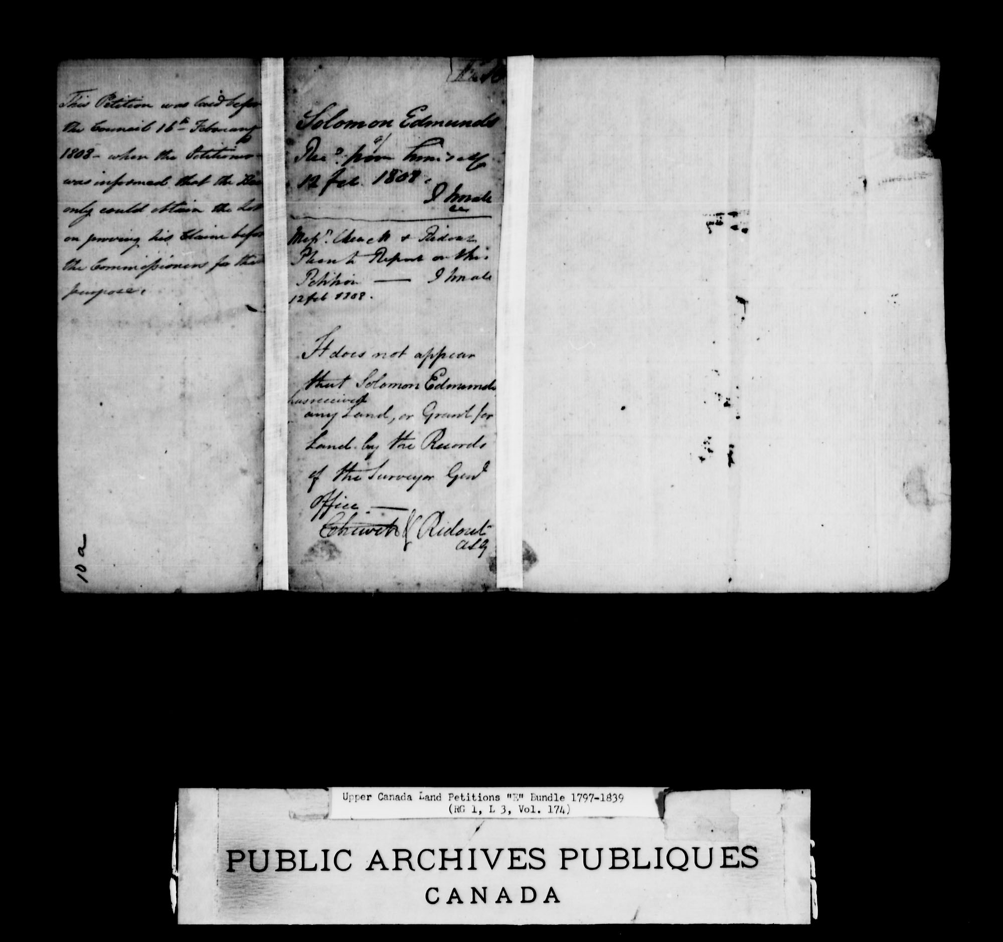 Title: Upper Canada Land Petitions (1763-1865) - Mikan Number: 205131 - Microform: c-1886