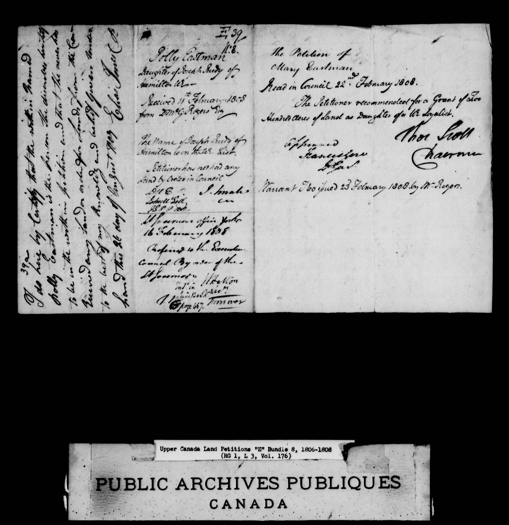 Title: Upper Canada Land Petitions (1763-1865) - Mikan Number: 205131 - Microform: c-1887