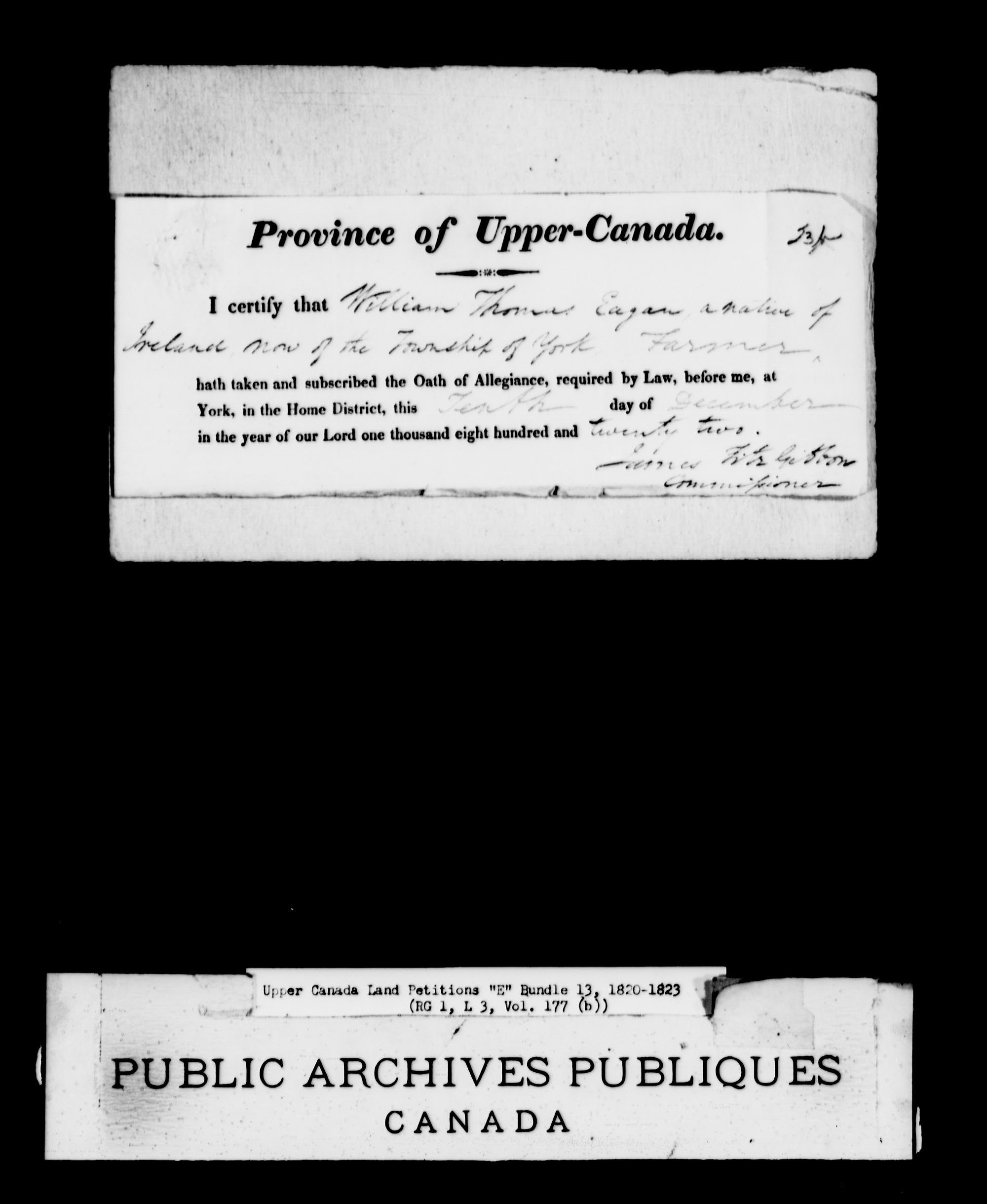 Title: Upper Canada Land Petitions (1763-1865) - Mikan Number: 205131 - Microform: c-1888