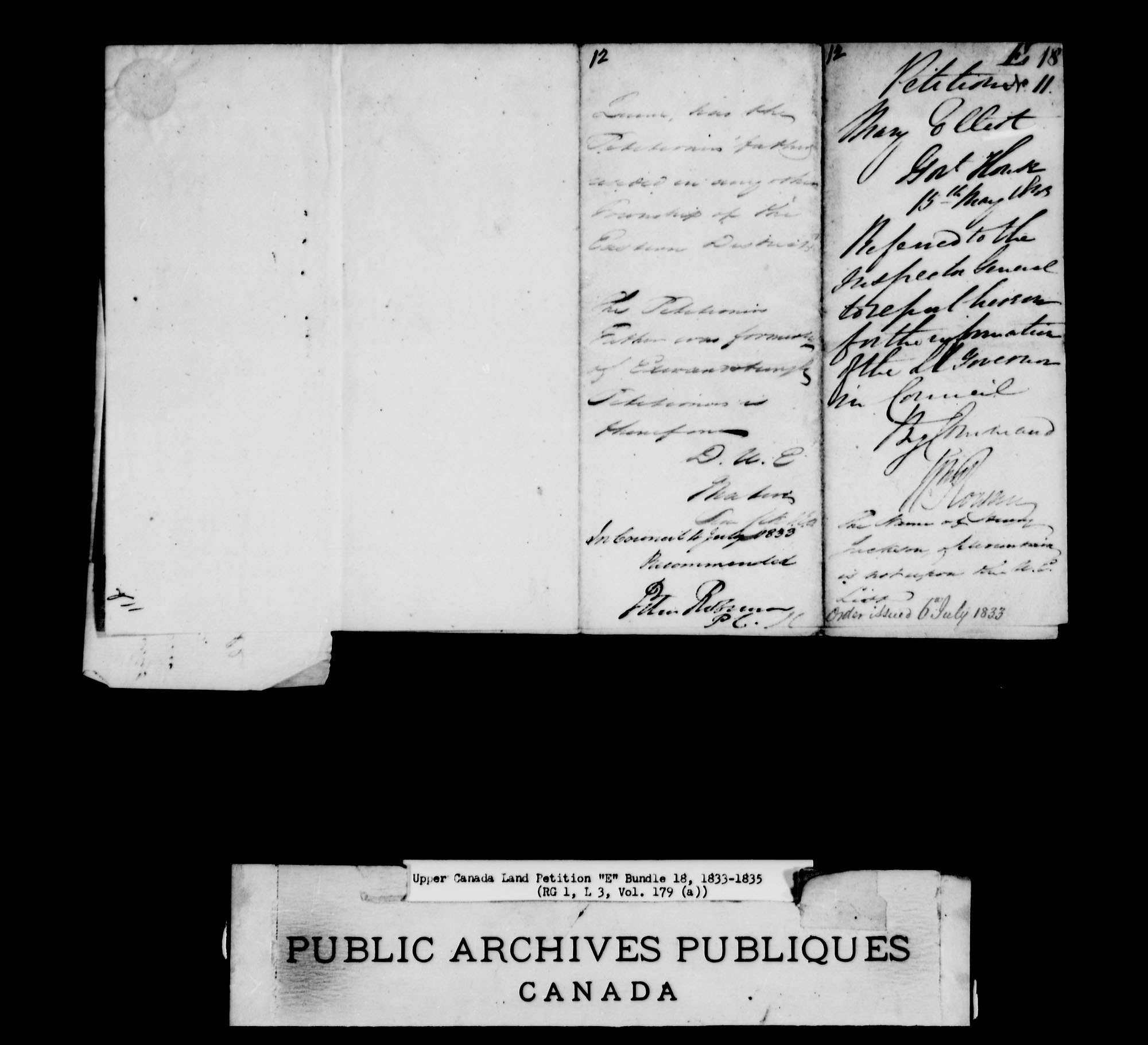 Title: Upper Canada Land Petitions (1763-1865) - Mikan Number: 205131 - Microform: c-1889