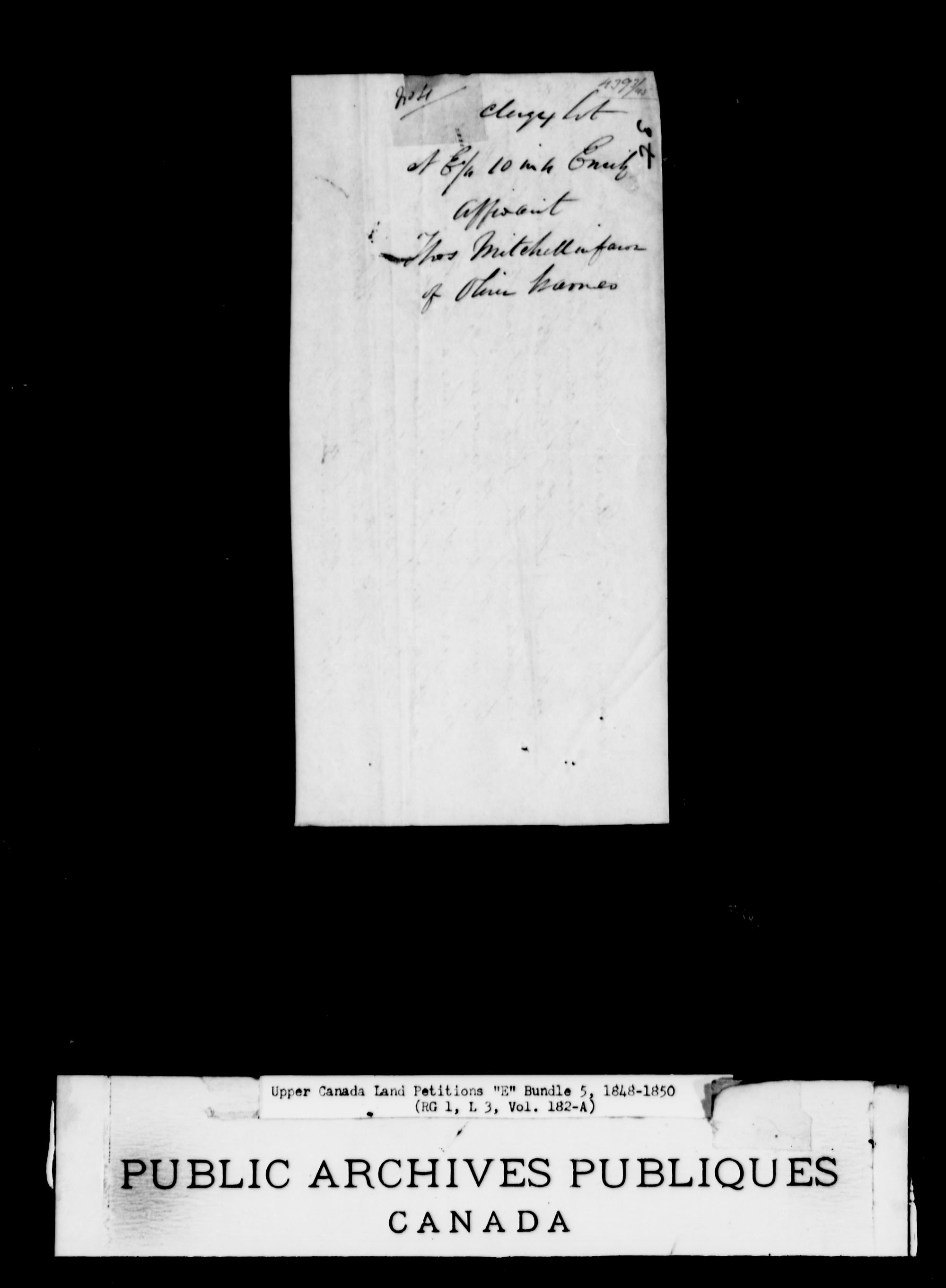 Title: Upper Canada Land Petitions (1763-1865) - Mikan Number: 205131 - Microform: c-1891