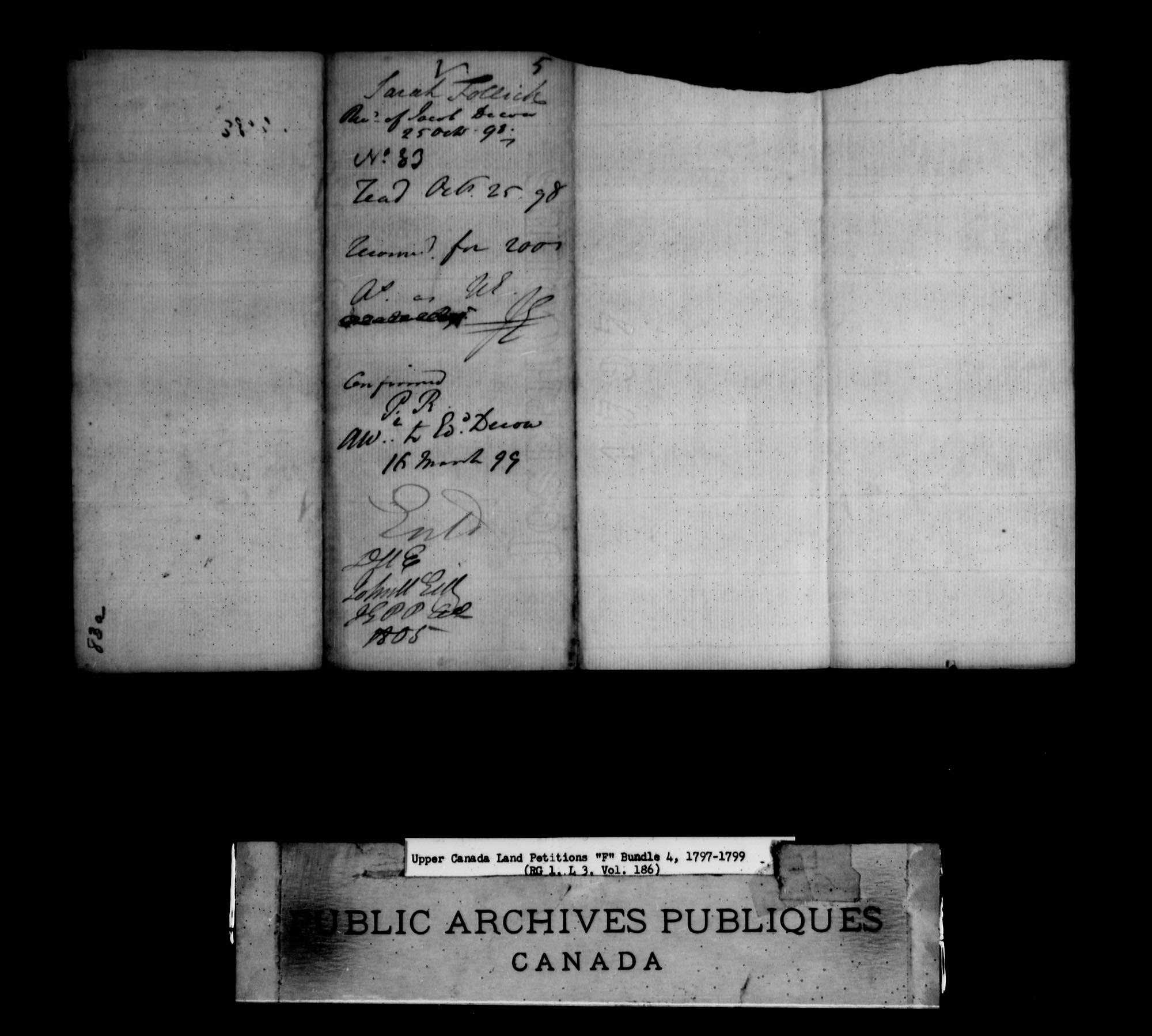 Title: Upper Canada Land Petitions (1763-1865) - Mikan Number: 205131 - Microform: c-1894