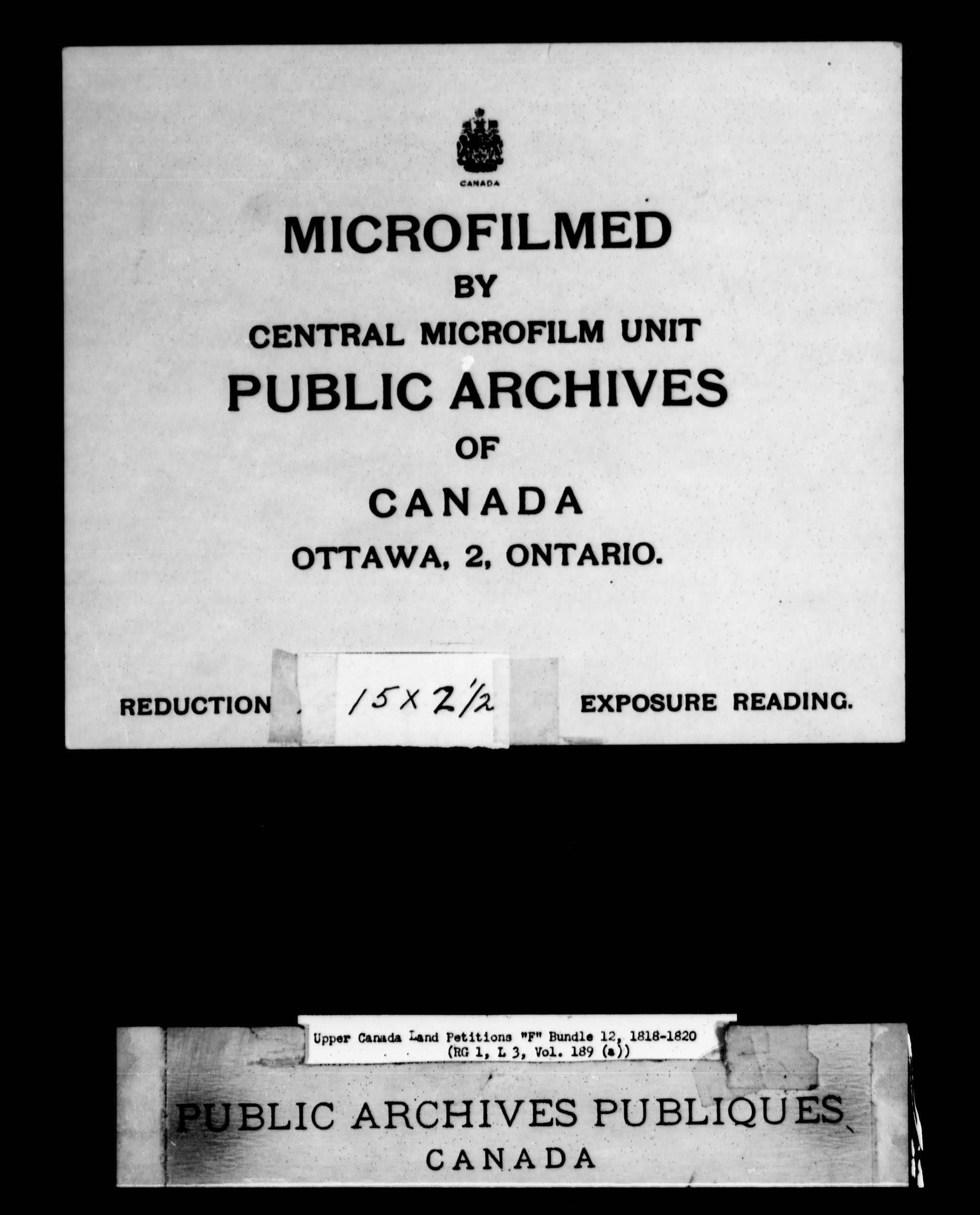Title: Upper Canada Land Petitions (1763-1865) - Mikan Number: 205131 - Microform: c-1897