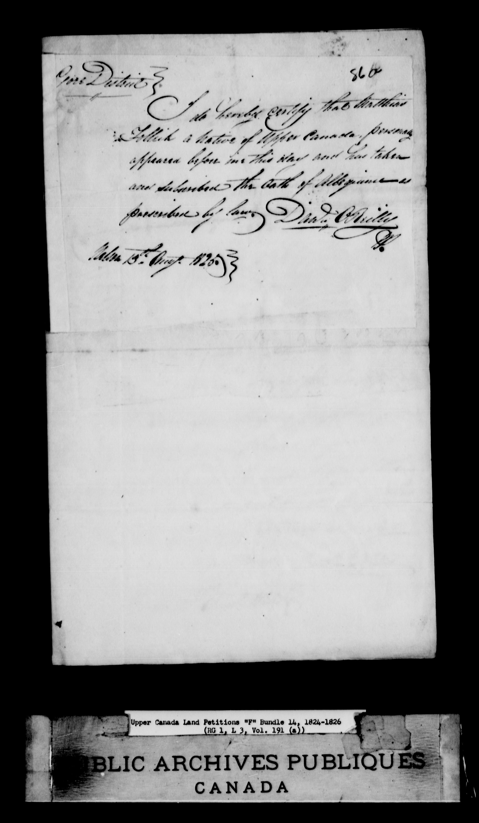 Title: Upper Canada Land Petitions (1763-1865) - Mikan Number: 205131 - Microform: c-1898
