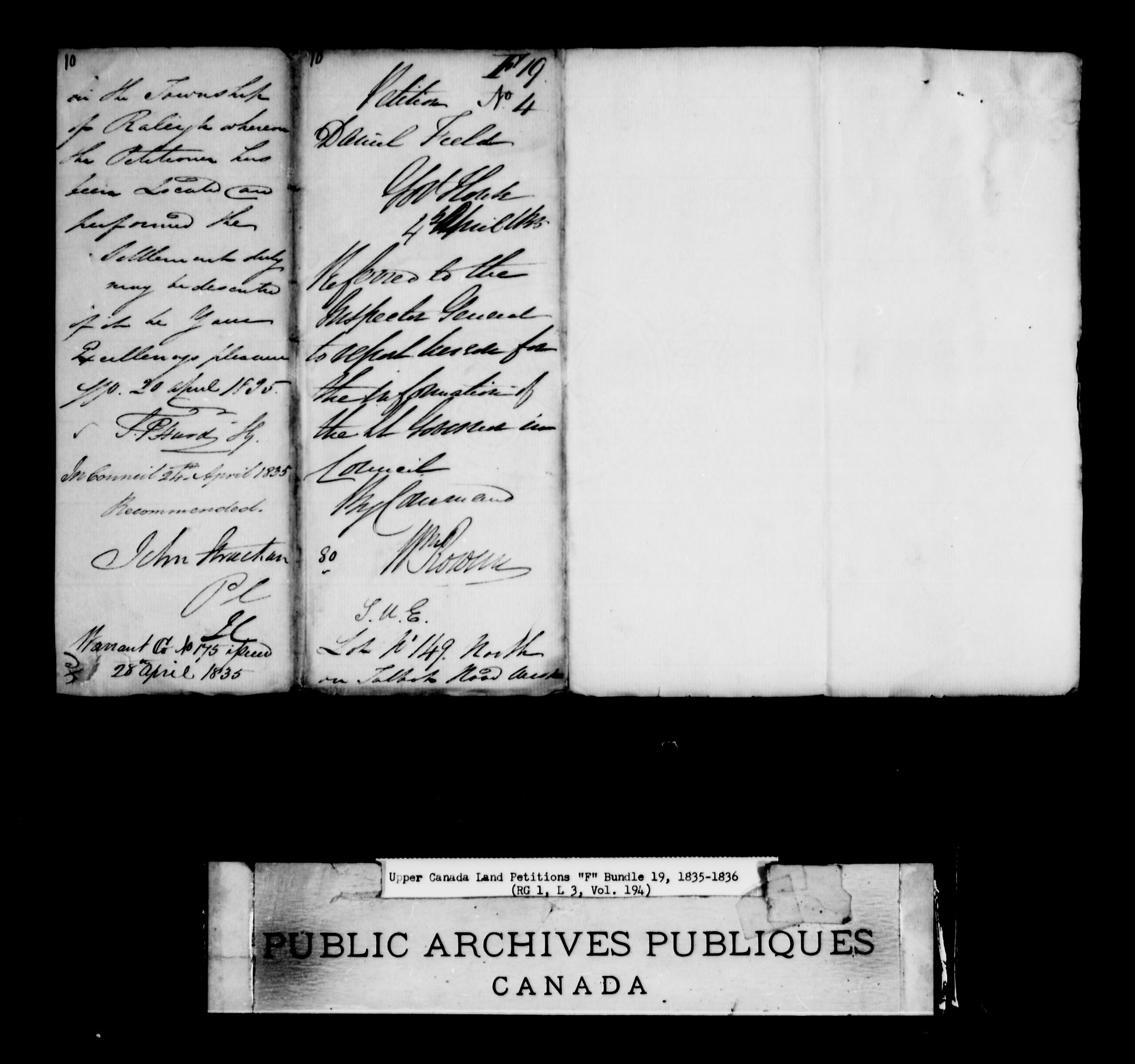 Title: Upper Canada Land Petitions (1763-1865) - Mikan Number: 205131 - Microform: c-1899