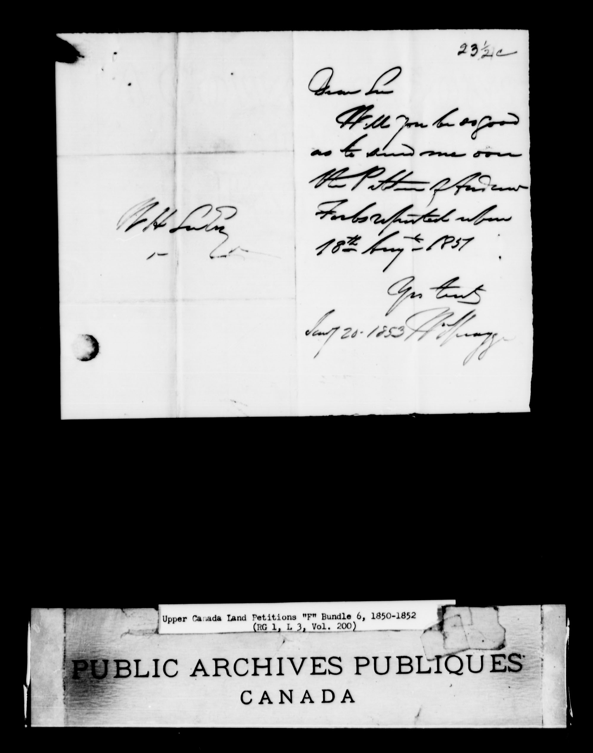 Title: Upper Canada Land Petitions (1763-1865) - Mikan Number: 205131 - Microform: c-2025