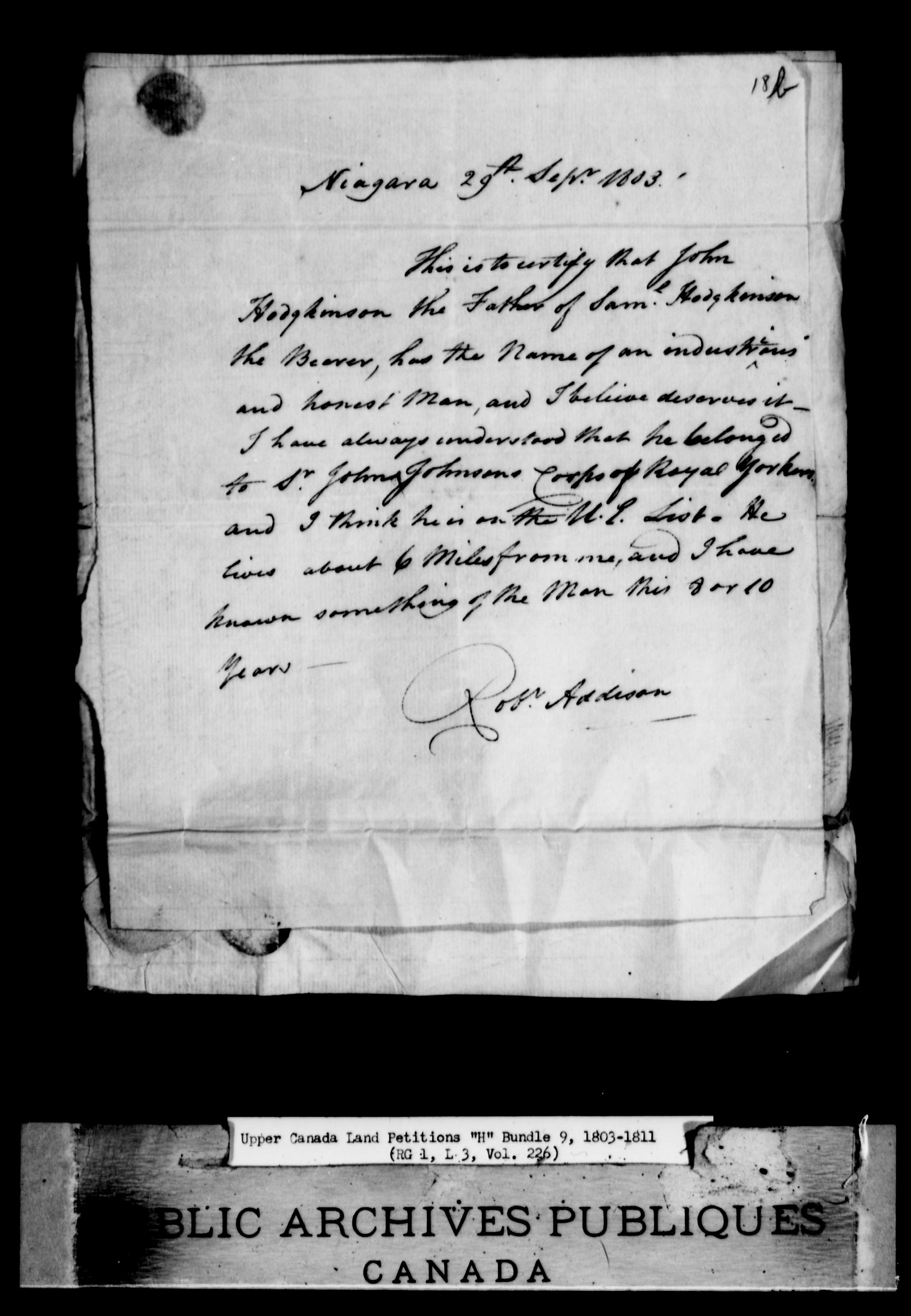 Title: Upper Canada Land Petitions (1763-1865) - Mikan Number: 205131 - Microform: c-2046