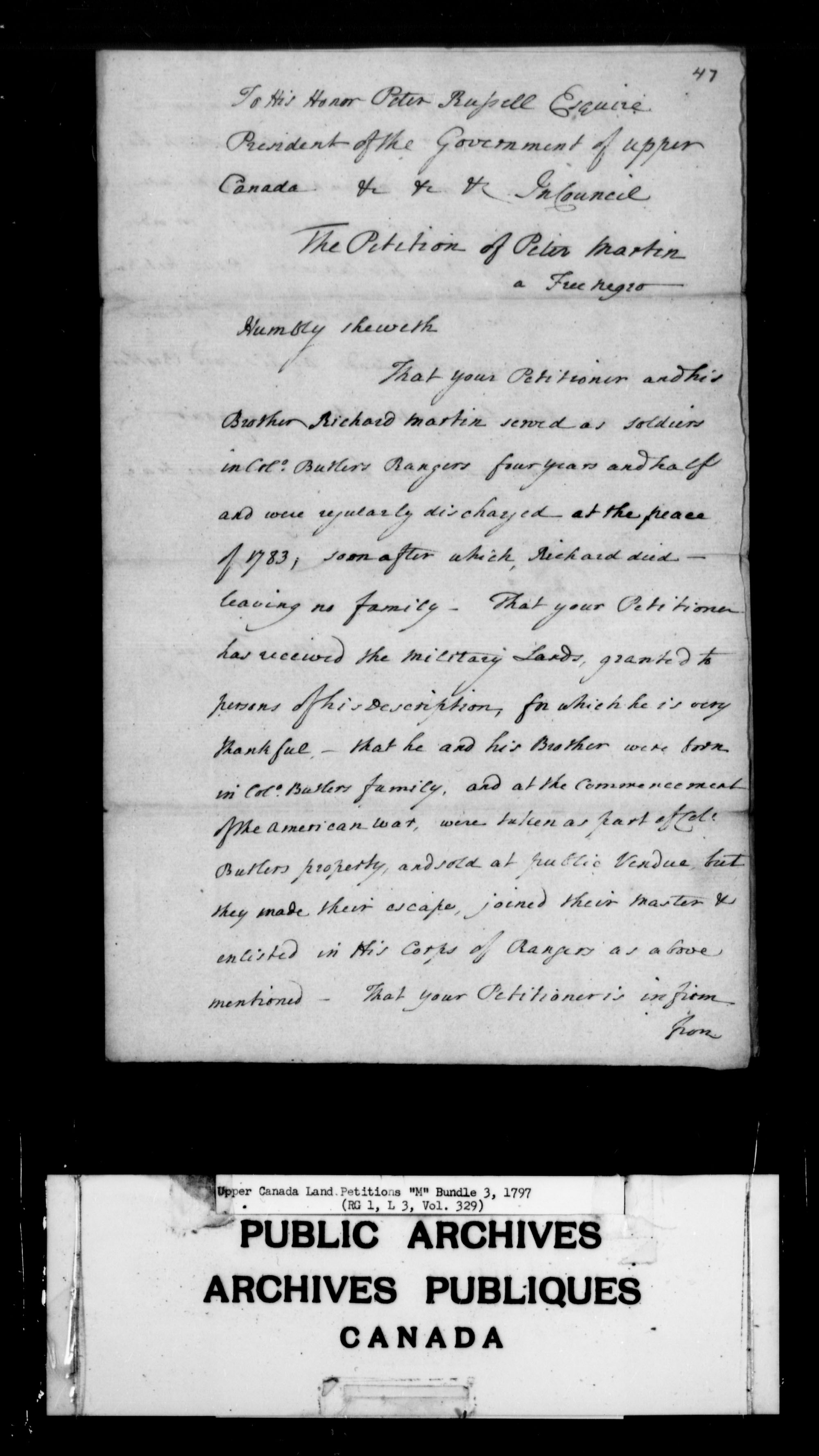 Title: Upper Canada Land Petitions (1763-1865) - Mikan Number: 205131 - Microform: c-2192