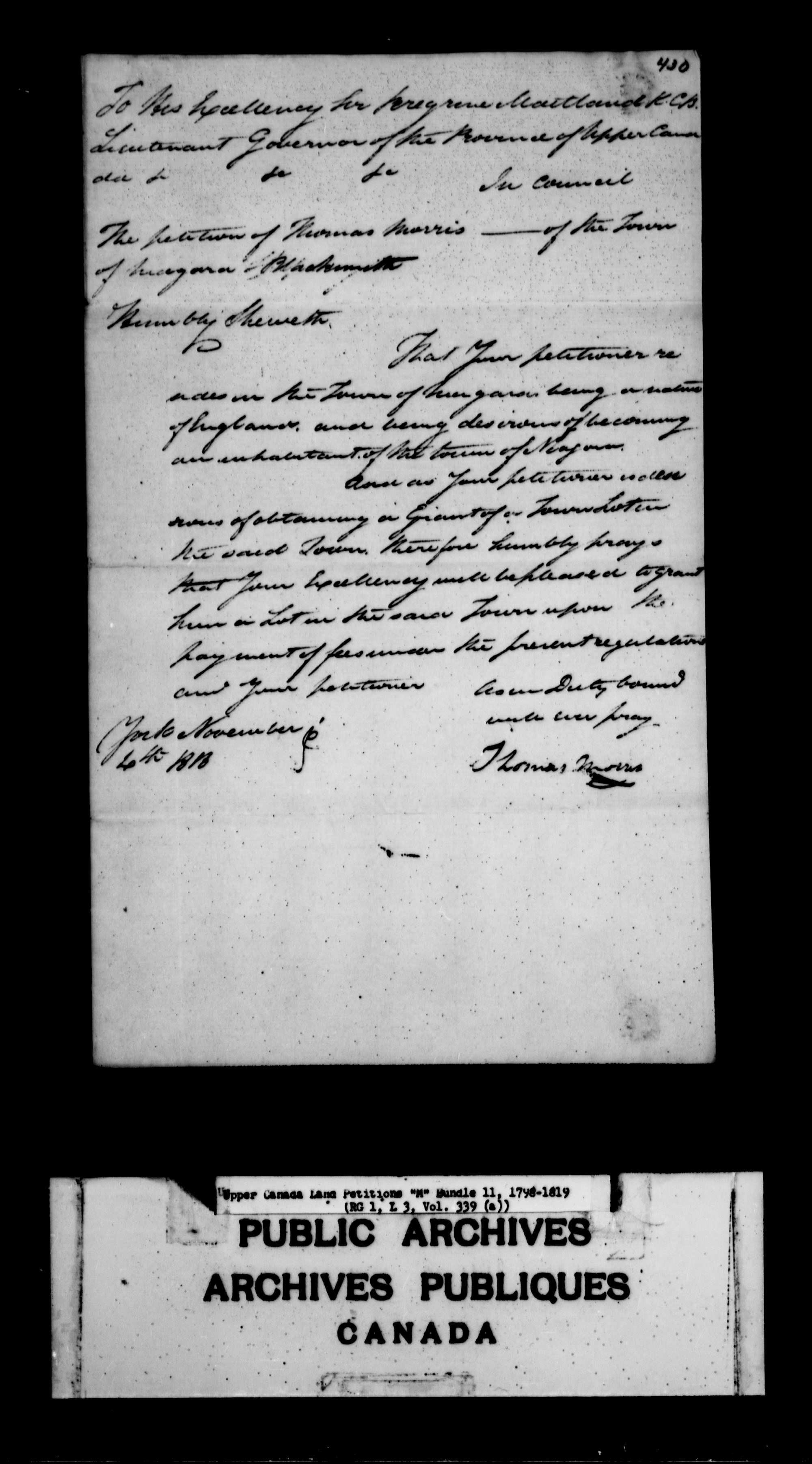 Title: Upper Canada Land Petitions (1763-1865) - Mikan Number: 205131 - Microform: c-2200