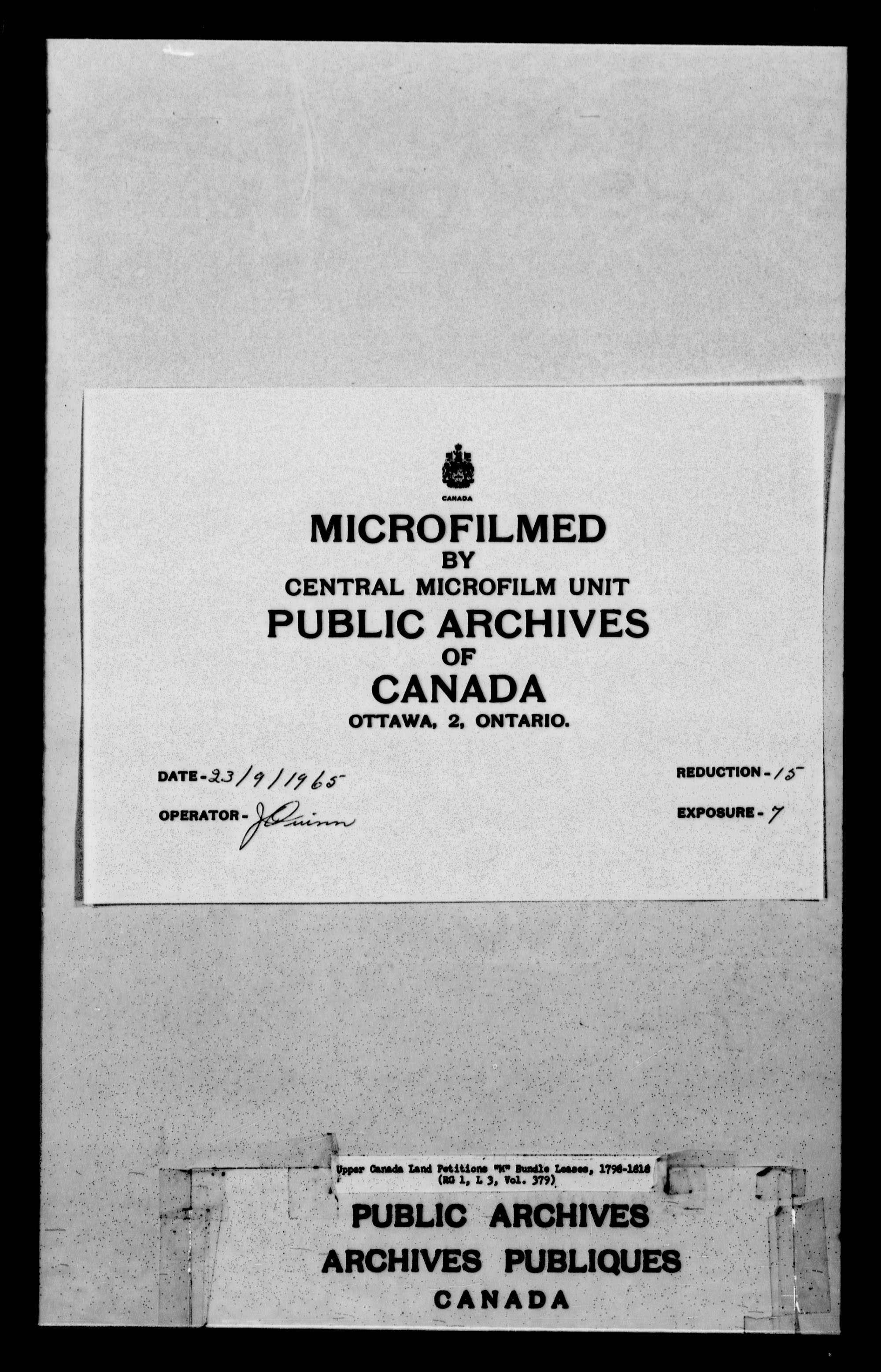 Title: Upper Canada Land Petitions (1763-1865) - Mikan Number: 205131 - Microform: c-2235