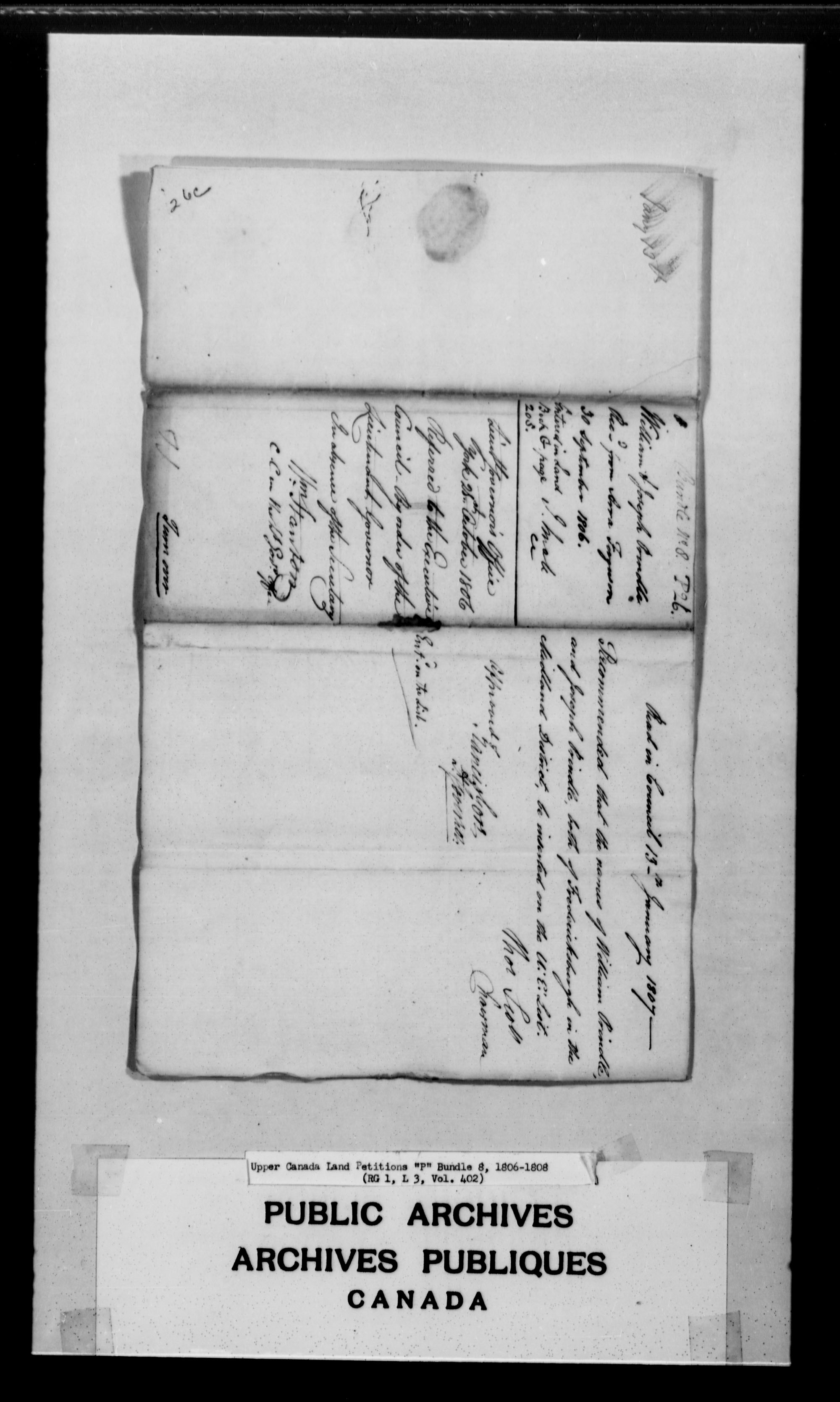 Title: Upper Canada Land Petitions (1763-1865) - Mikan Number: 205131 - Microform: c-2490