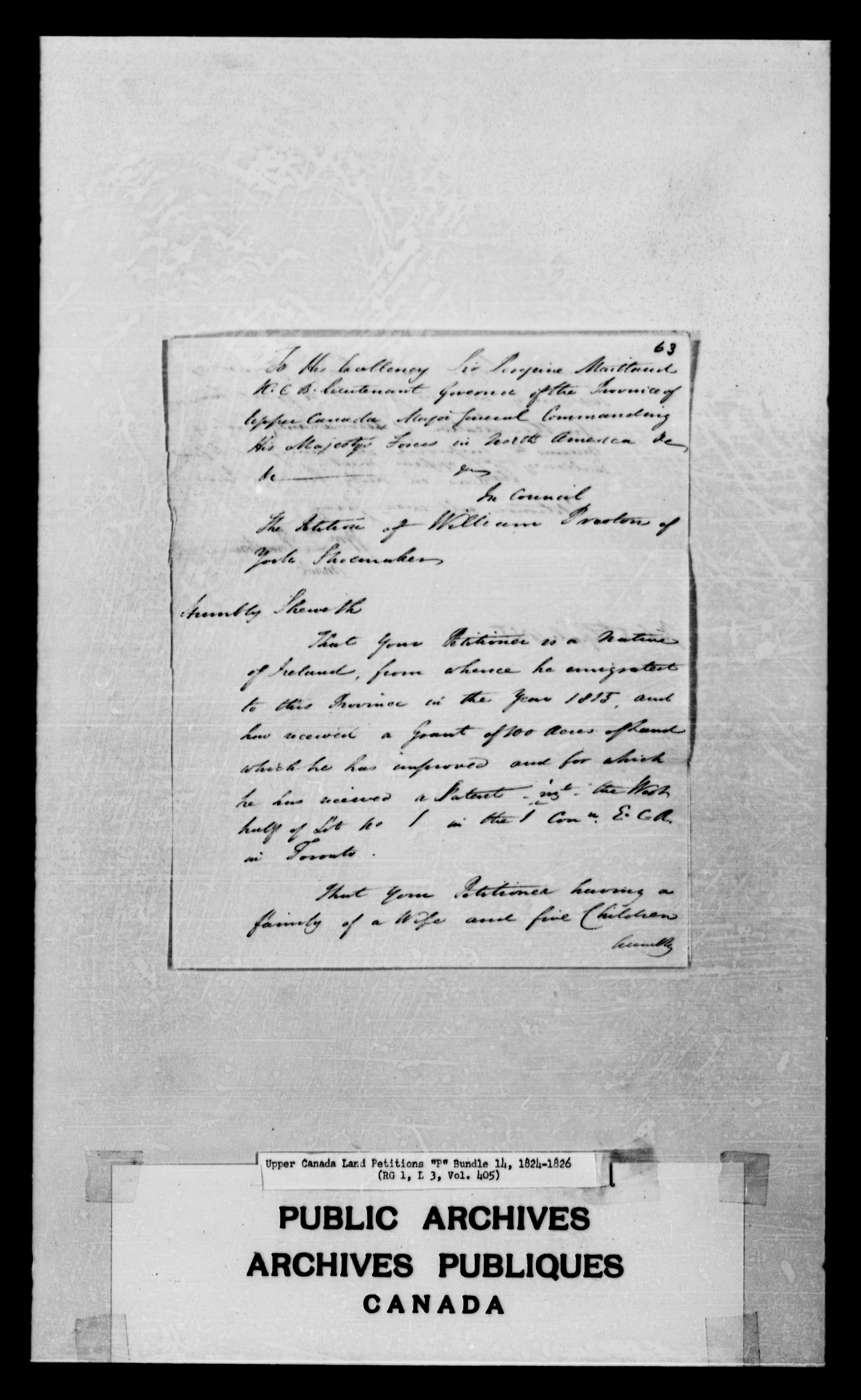 Title: Upper Canada Land Petitions (1763-1865) - Mikan Number: 205131 - Microform: c-2491