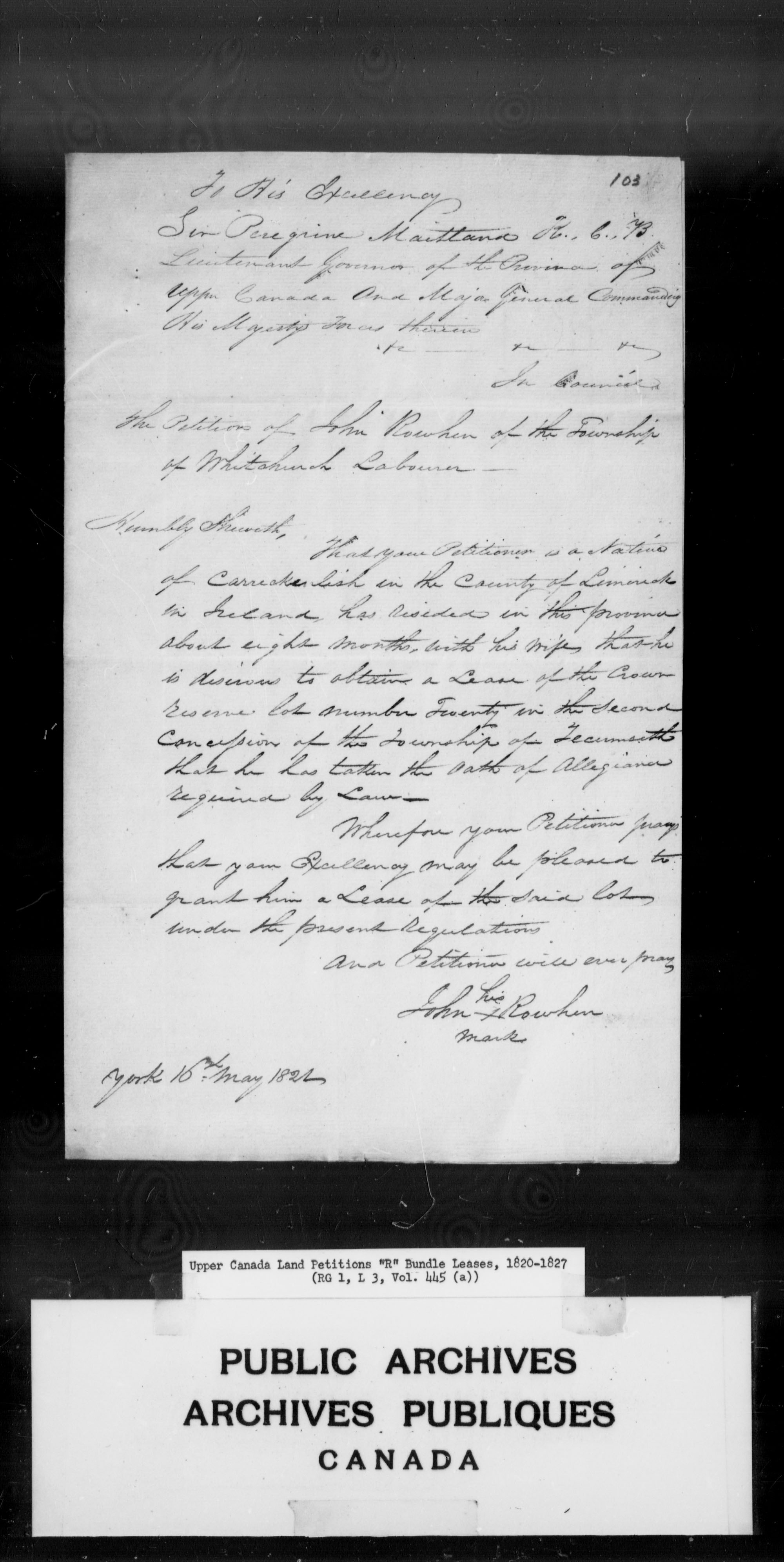 Title: Upper Canada Land Petitions (1763-1865) - Mikan Number: 205131 - Microform: c-2803