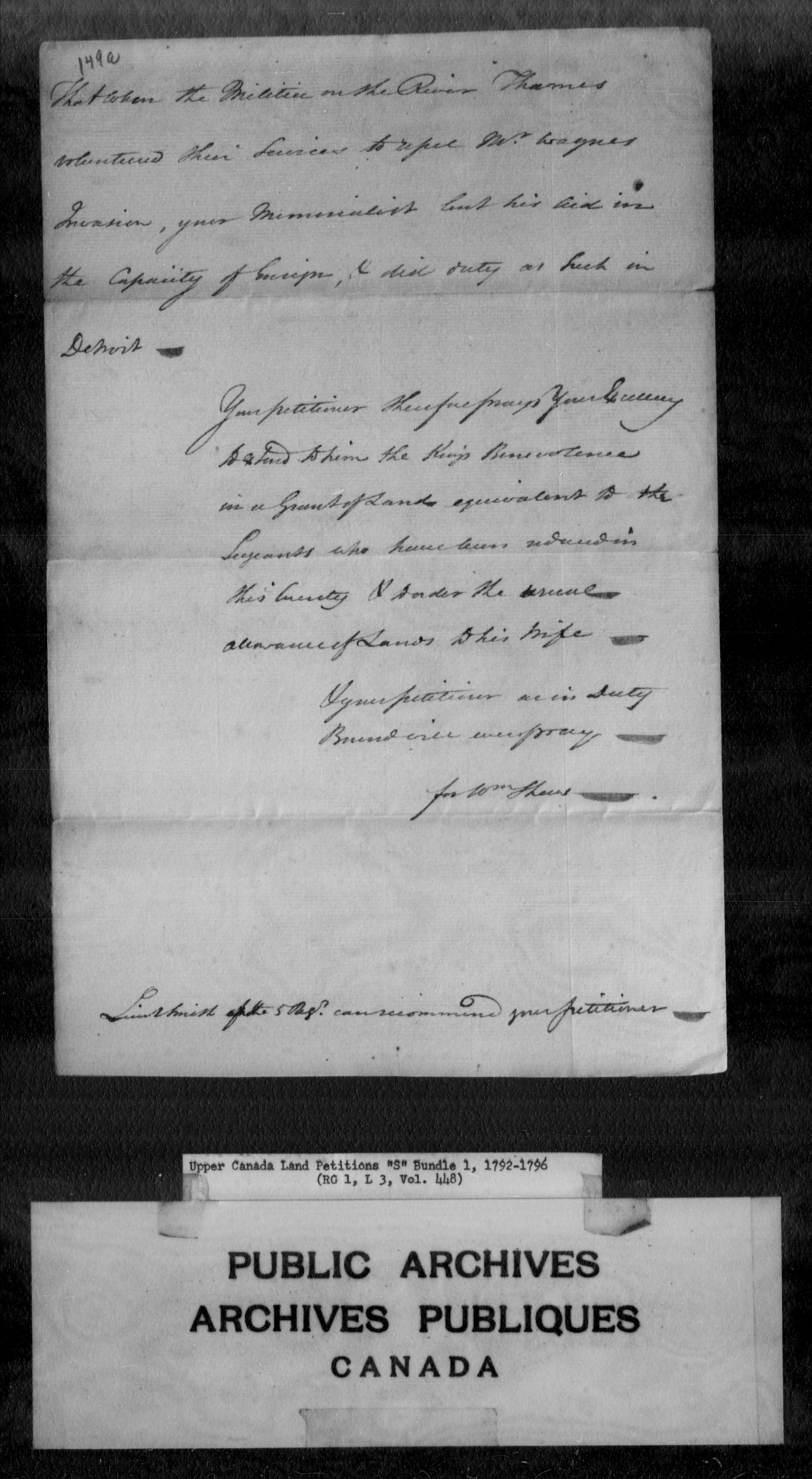 Title: Upper Canada Land Petitions (1763-1865) - Mikan Number: 205131 - Microform: c-2806