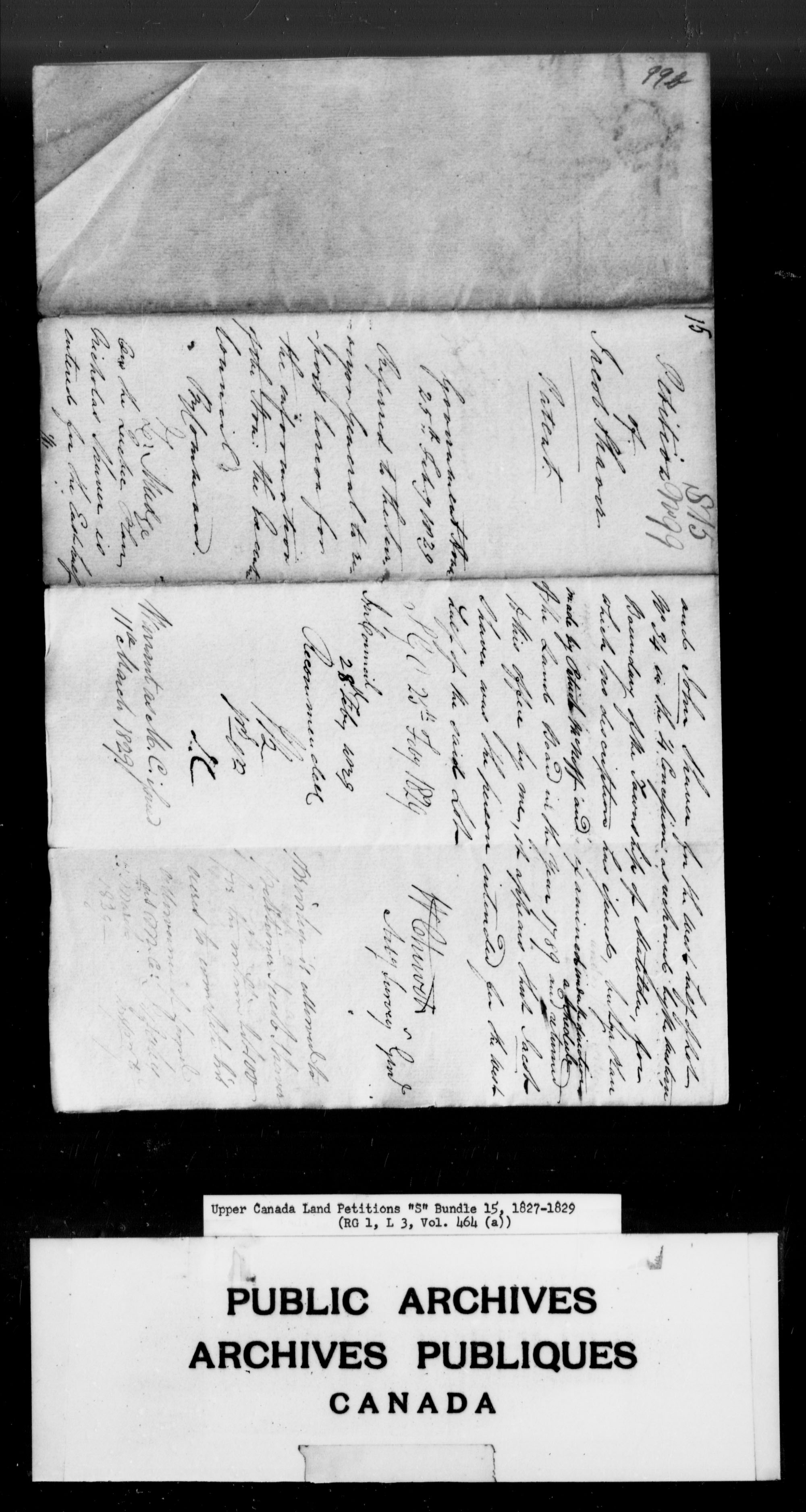 Title: Upper Canada Land Petitions (1763-1865) - Mikan Number: 205131 - Microform: c-2815