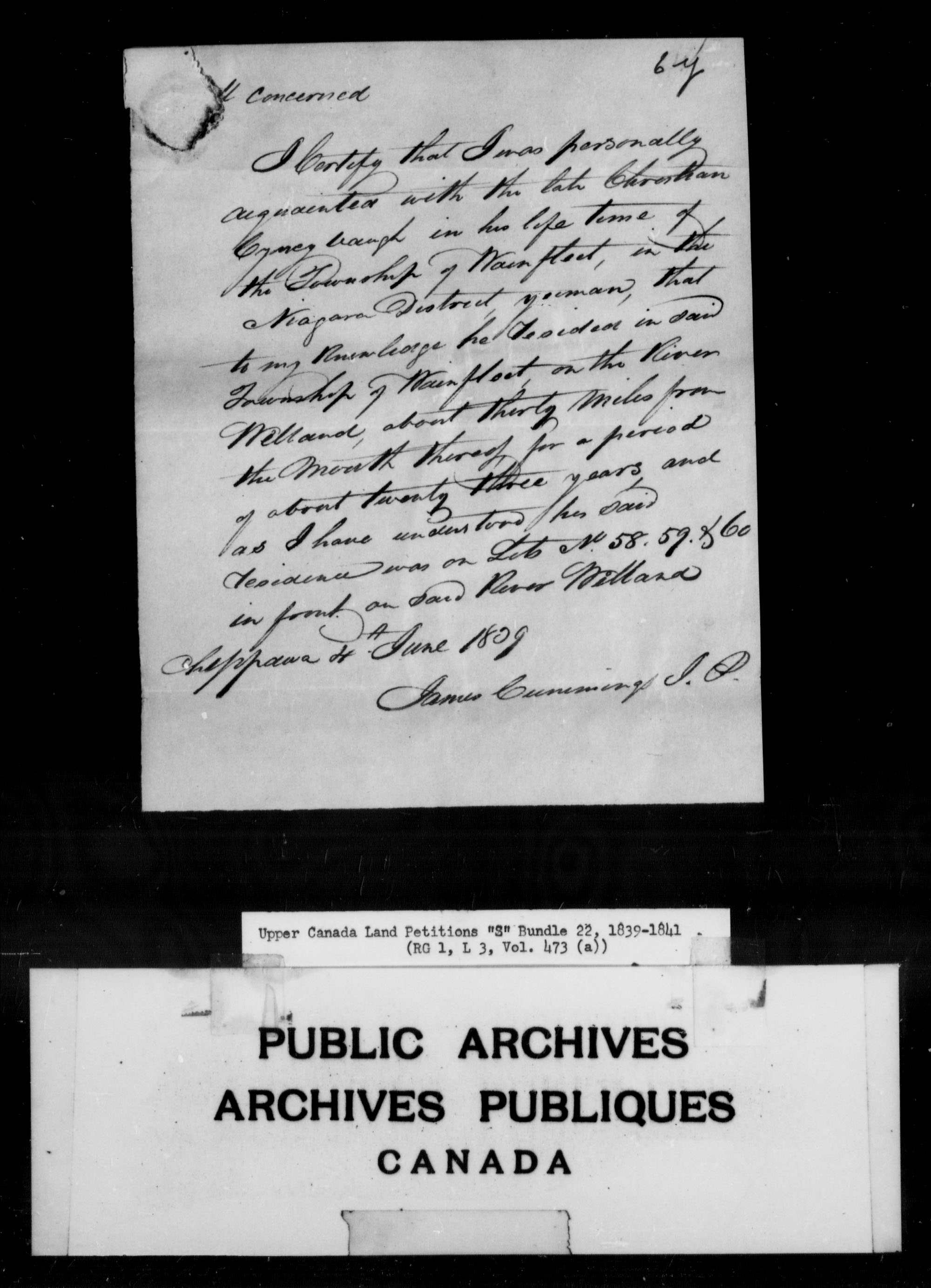 Title: Upper Canada Land Petitions (1763-1865) - Mikan Number: 205131 - Microform: c-2820