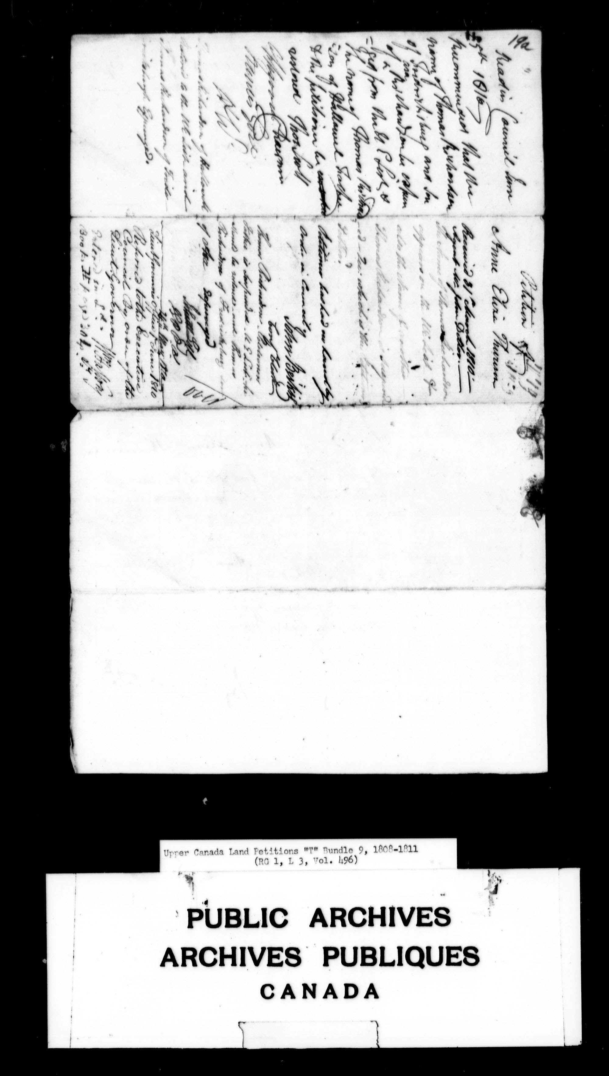 Title: Upper Canada Land Petitions (1763-1865) - Mikan Number: 205131 - Microform: c-2833