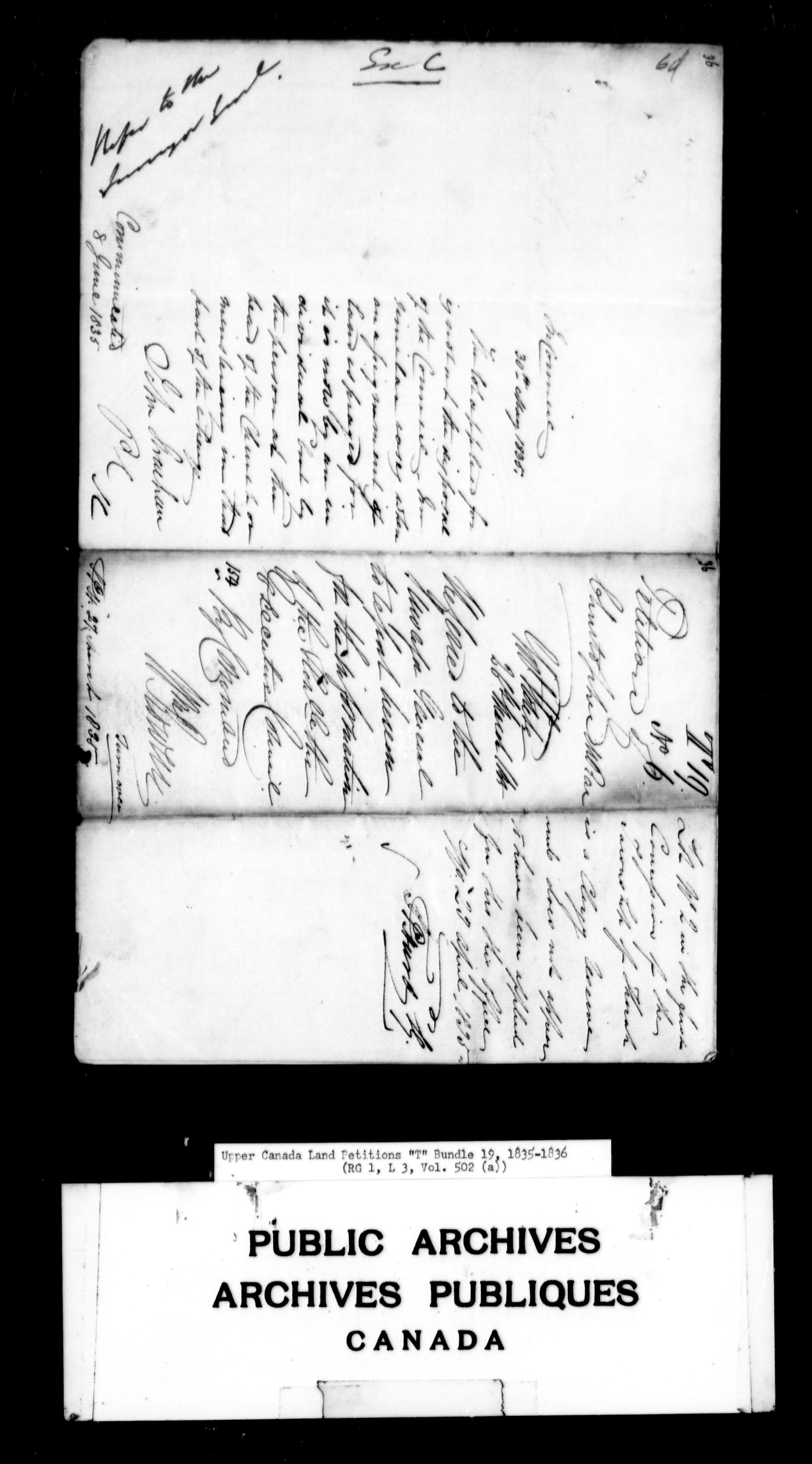 Title: Upper Canada Land Petitions (1763-1865) - Mikan Number: 205131 - Microform: c-2836