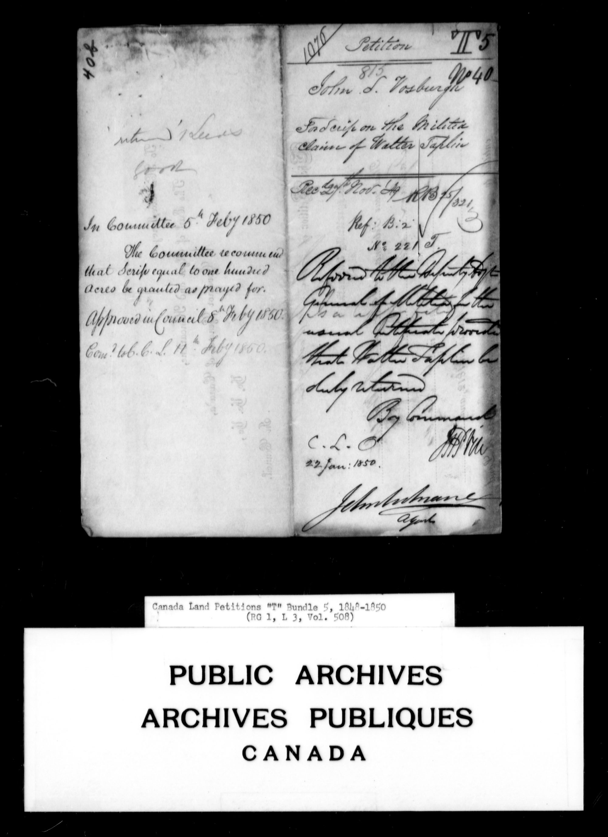 Title: Upper Canada Land Petitions (1763-1865) - Mikan Number: 205131 - Microform: c-2839