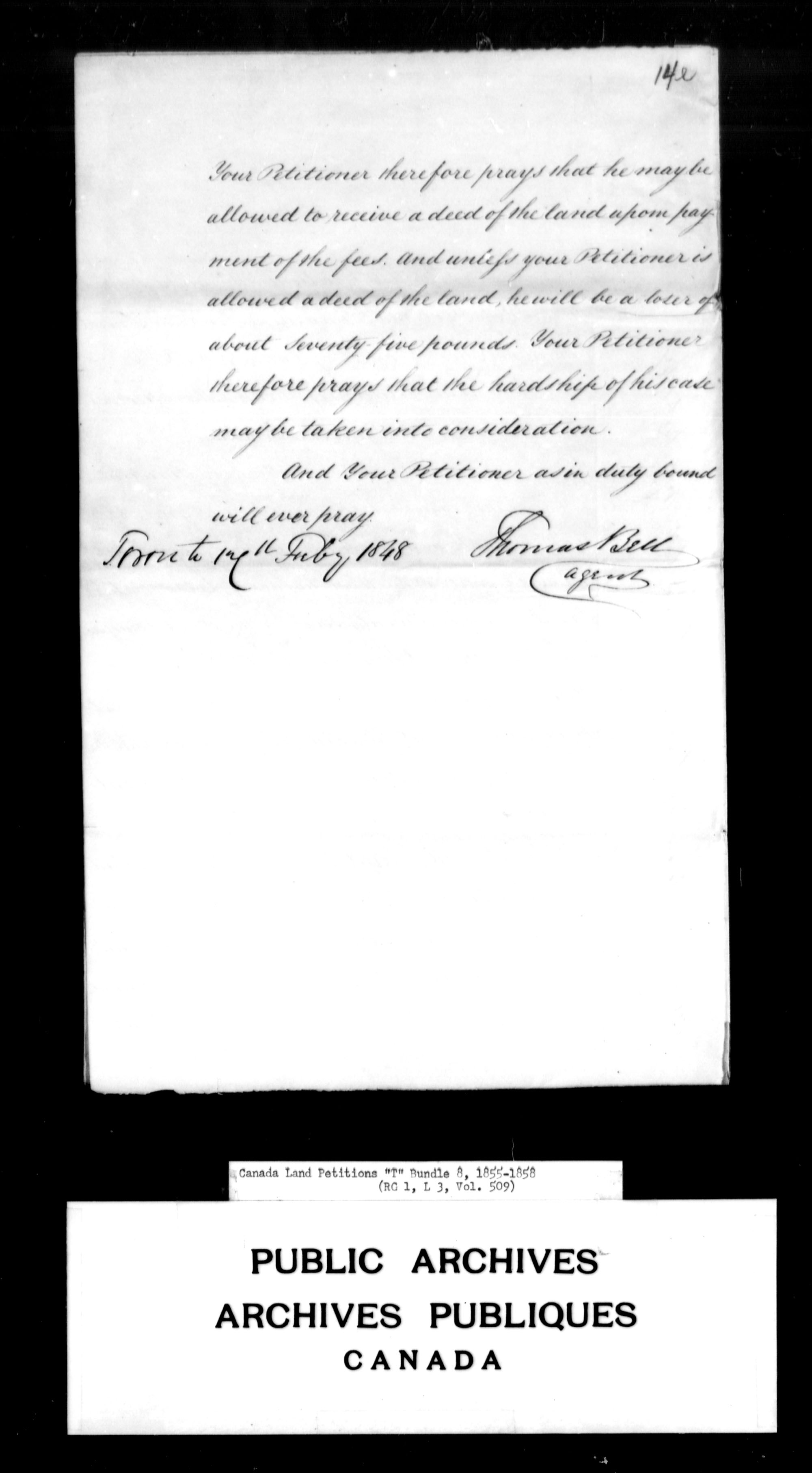 Title: Upper Canada Land Petitions (1763-1865) - Mikan Number: 205131 - Microform: c-2840