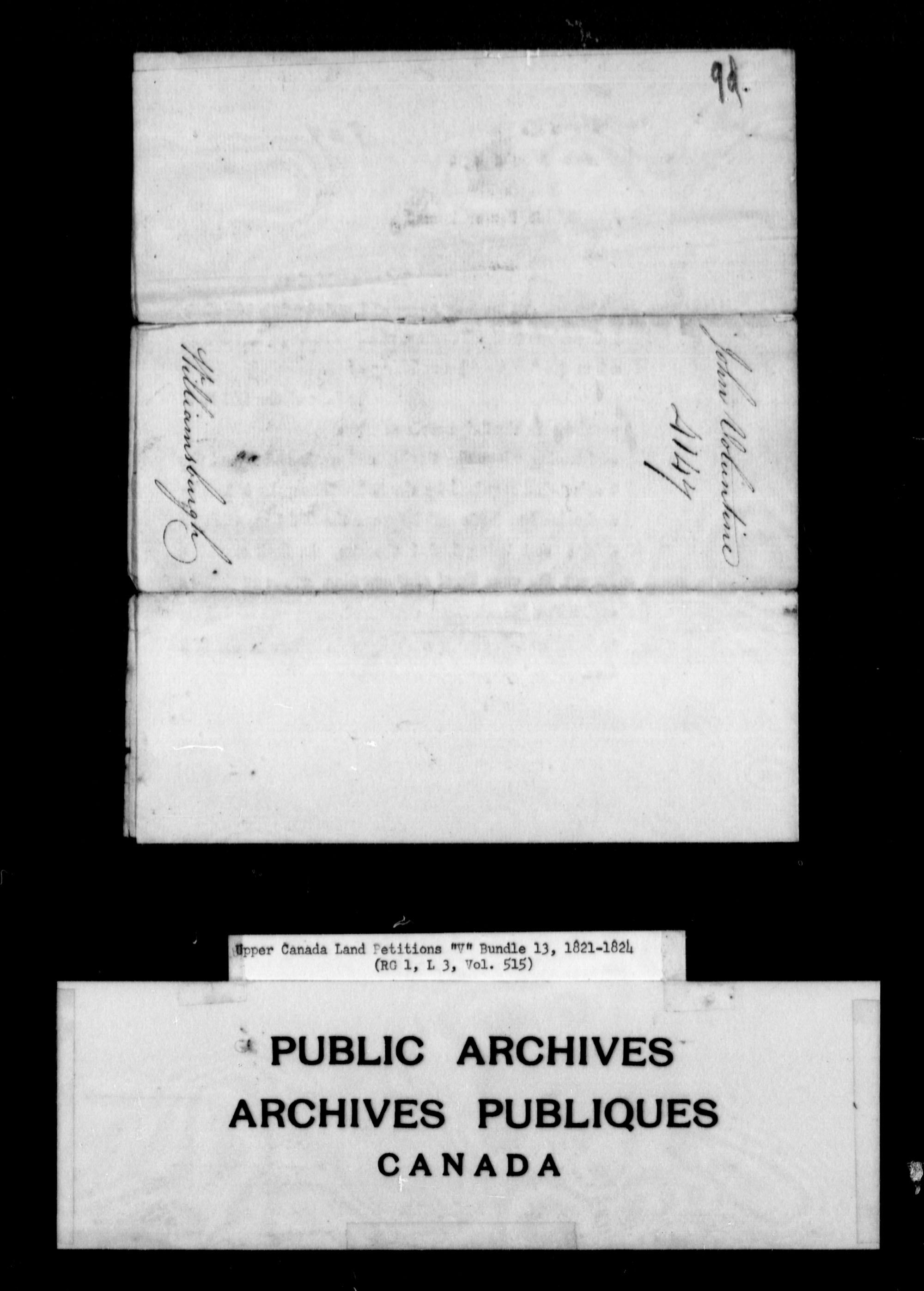 Title: Upper Canada Land Petitions (1763-1865) - Mikan Number: 205131 - Microform: c-2947