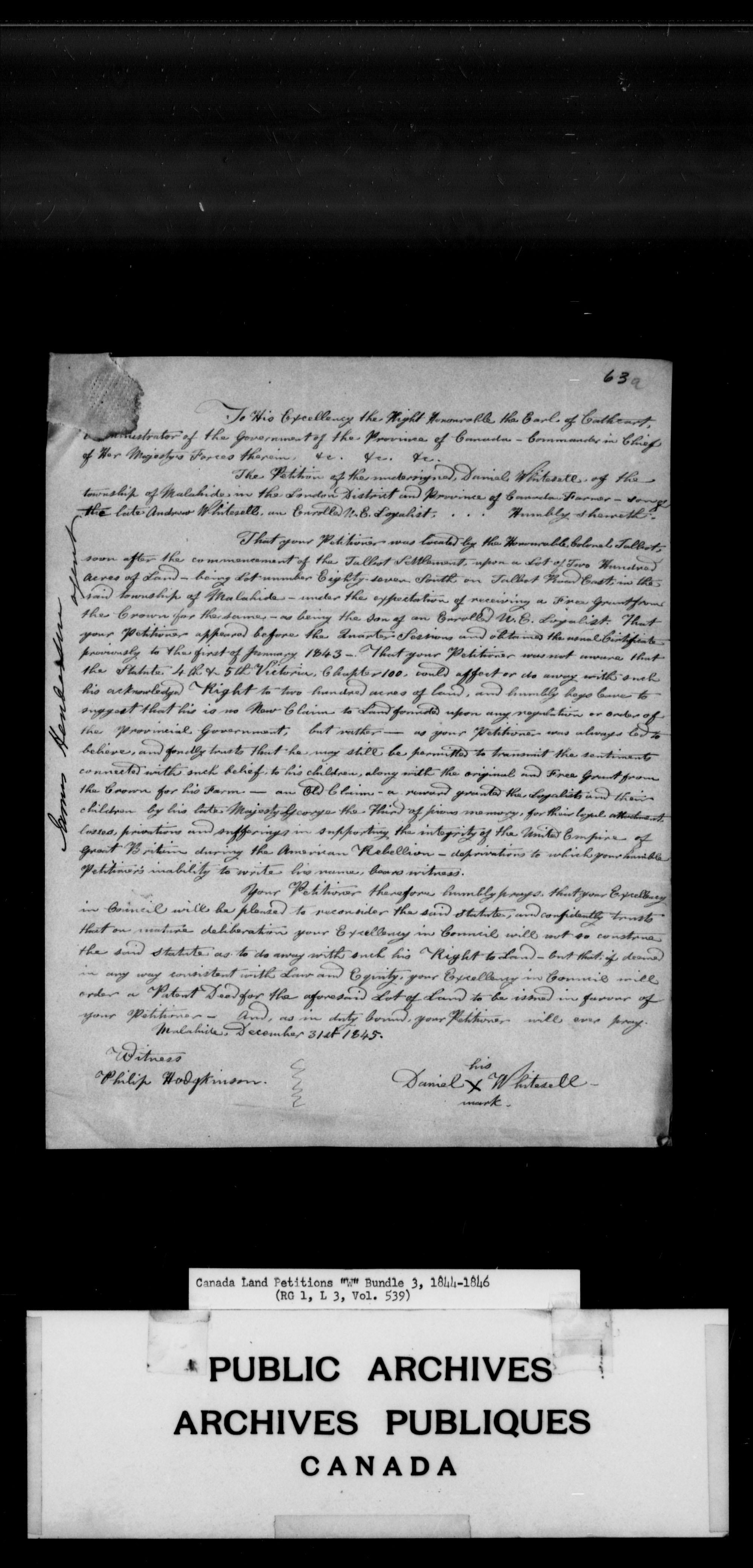 Titre: Demandes de terres du Haut-Canada (1763-1865) - N° d'enregistrement Mikan: 205131 - Microforme: c-2962