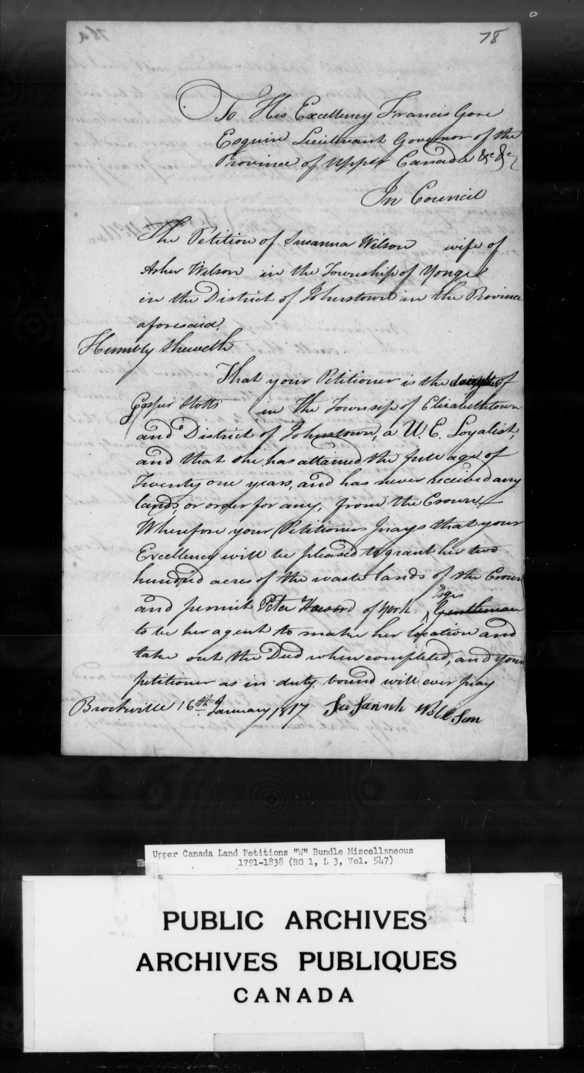 Title: Upper Canada Land Petitions (1763-1865) - Mikan Number: 205131 - Microform: c-2969