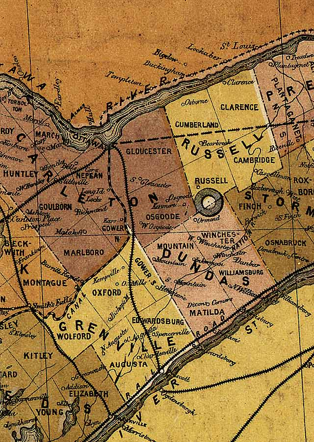 Section B10 of Map of Ontario (1874)