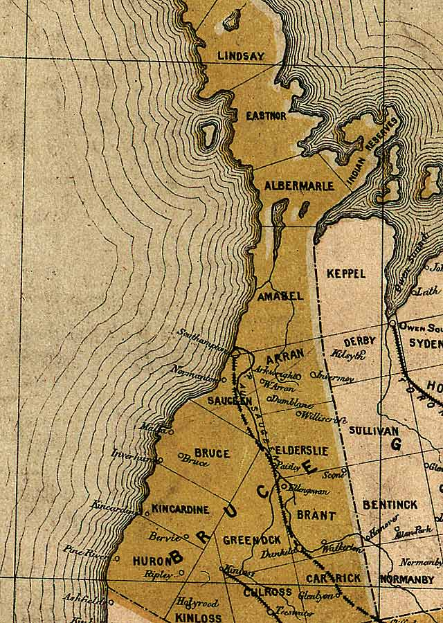 Section C4 of Map of Ontario (1874)