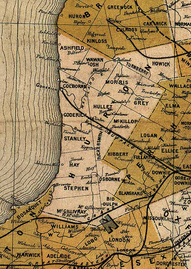 Section D4 of Map of Ontario (1874)