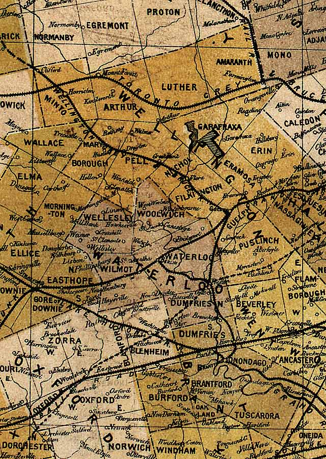 Section D5 of Map of Ontario (1874)