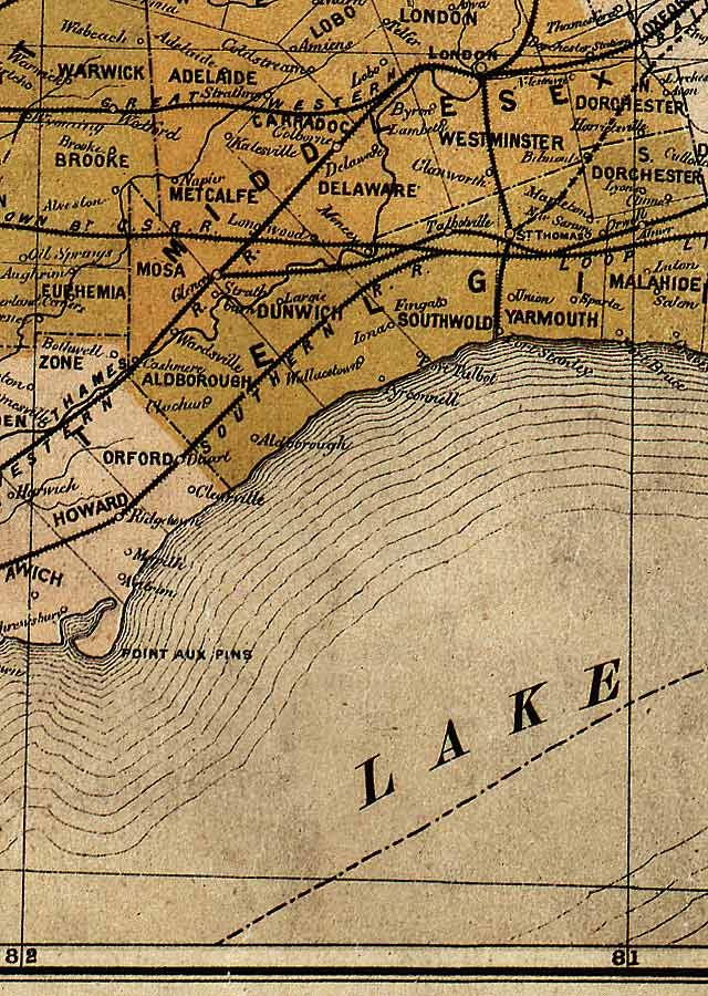 Section E4 of Map of Ontario (1874)