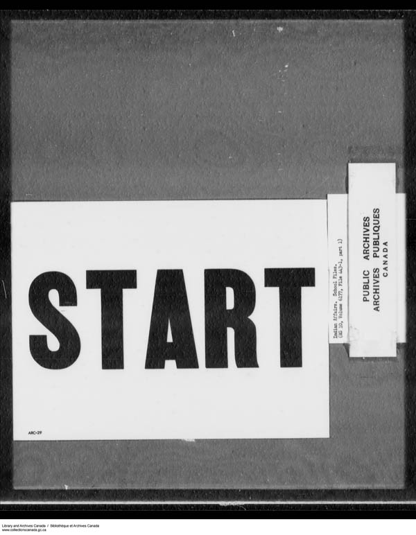 Title: School Files Series - 1879-1953 (RG10) - Mikan Number: 157505 - Microform: c-7914