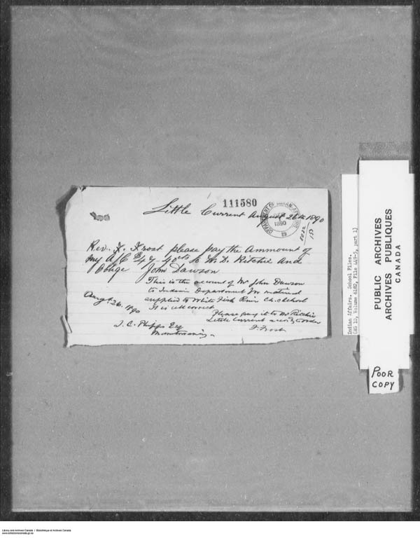 Title: School Files Series - 1879-1953 (RG10) - Mikan Number: 157505 - Microform: c-7919