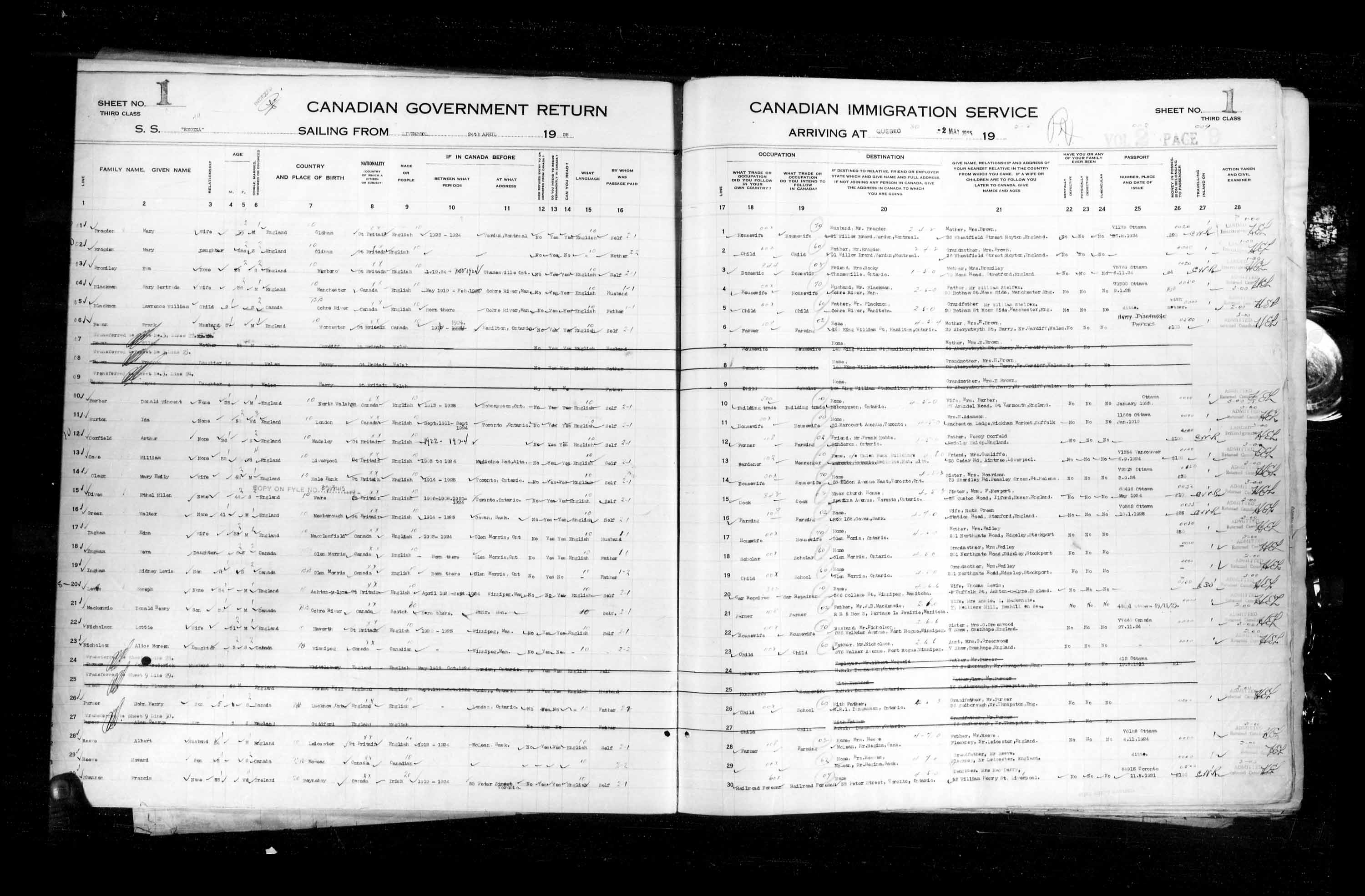 Title: Passenger Lists: Quebec City (1925-1935) - Mikan Number: 134839 - Microform: t-14715