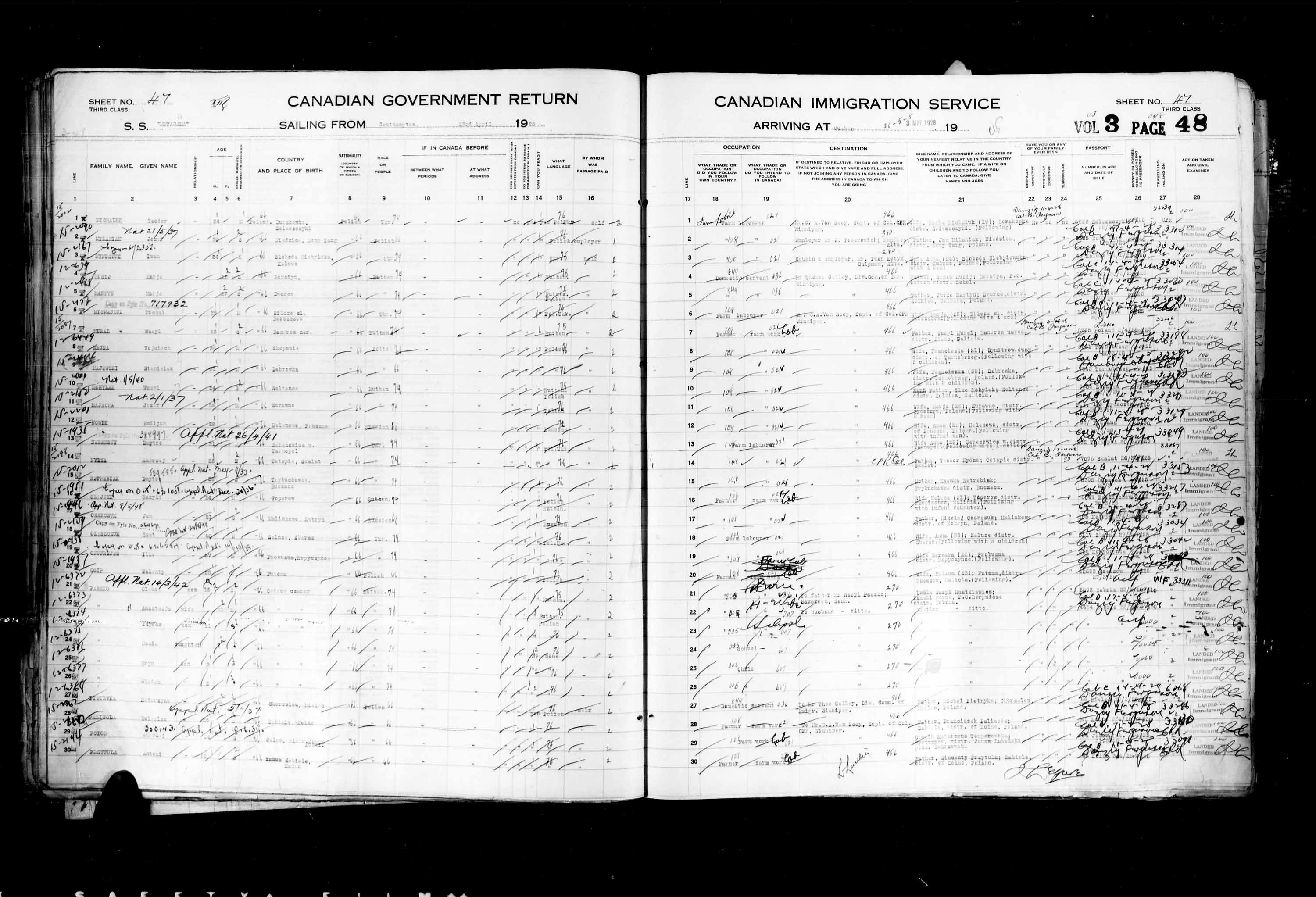 Title: Passenger Lists: Quebec City (1925-1935) - Mikan Number: 134839 - Microform: t-14741