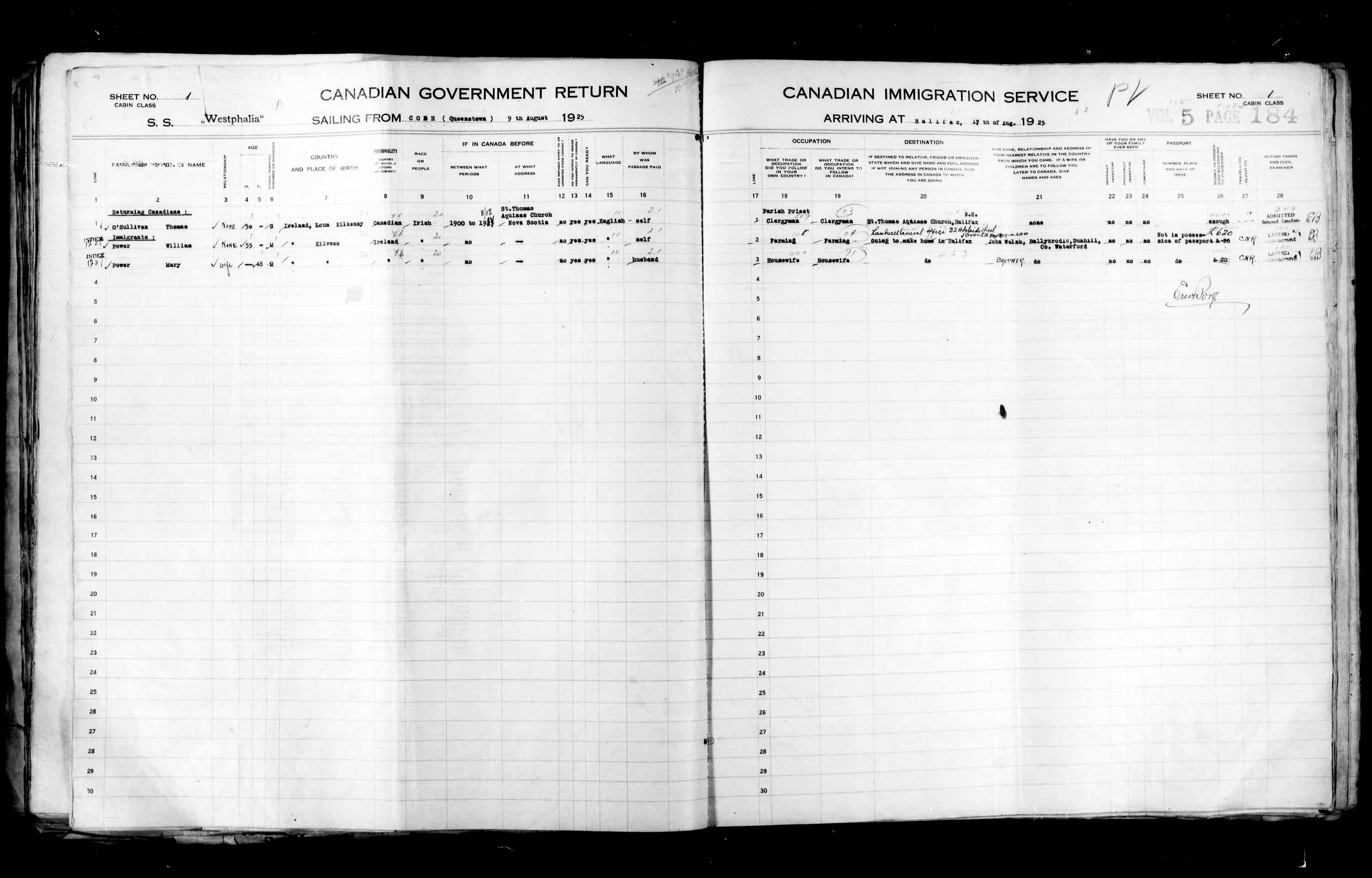 Title: Passenger Lists: Halifax (1925-1935) - Mikan Number: 134853 - Microform: t-14803