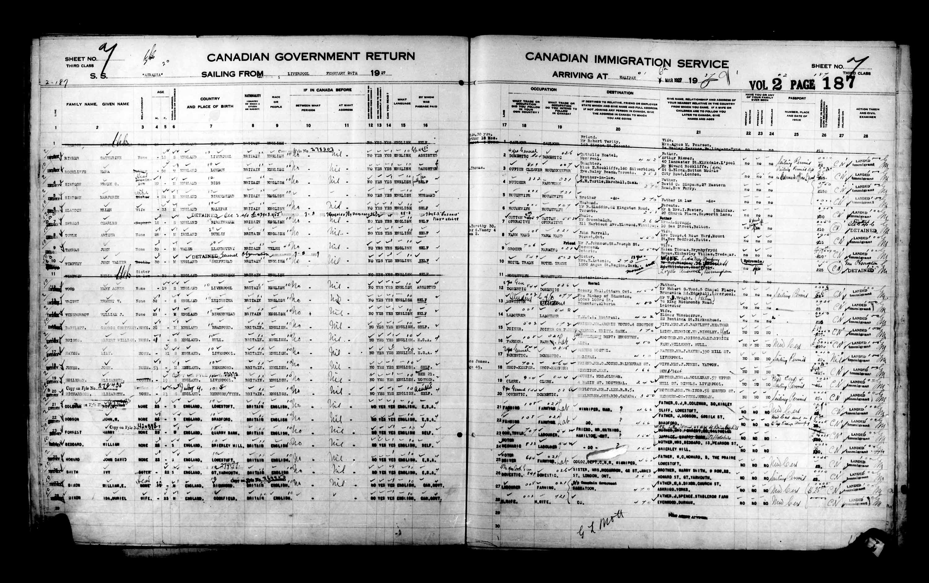 Title: Passenger Lists: Halifax (1925-1935) - Mikan Number: 134853 - Microform: t-14808