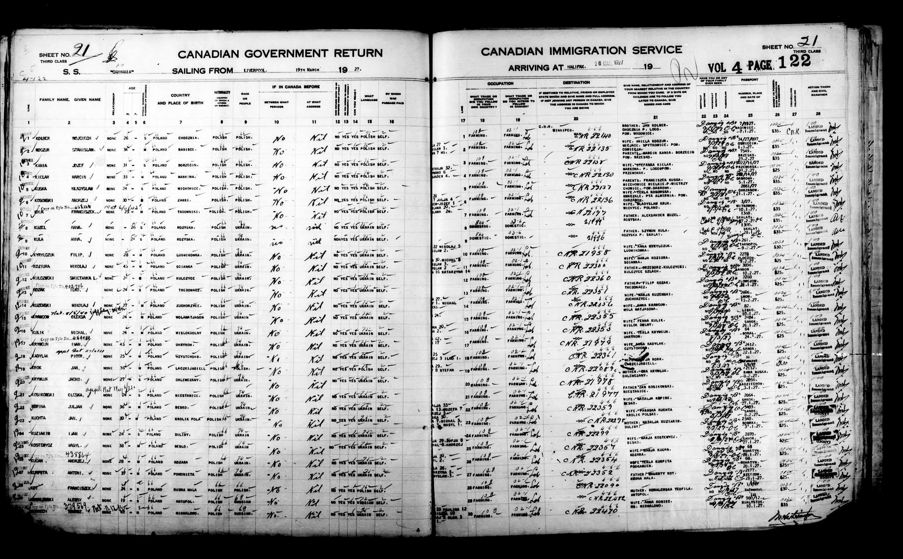 Title: Passenger Lists: Halifax (1925-1935) - Mikan Number: 134853 - Microform: t-14809
