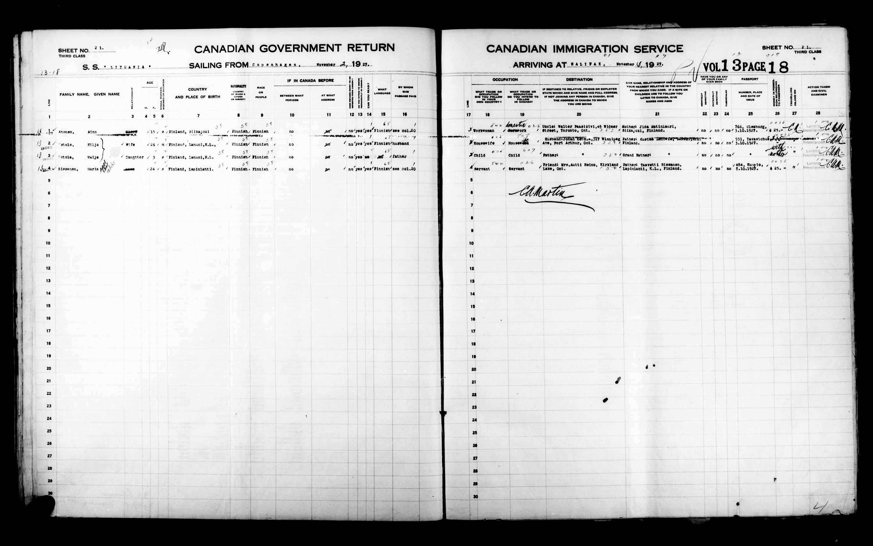 Title: Passenger Lists: Halifax (1925-1935) - Mikan Number: 134853 - Microform: t-14811